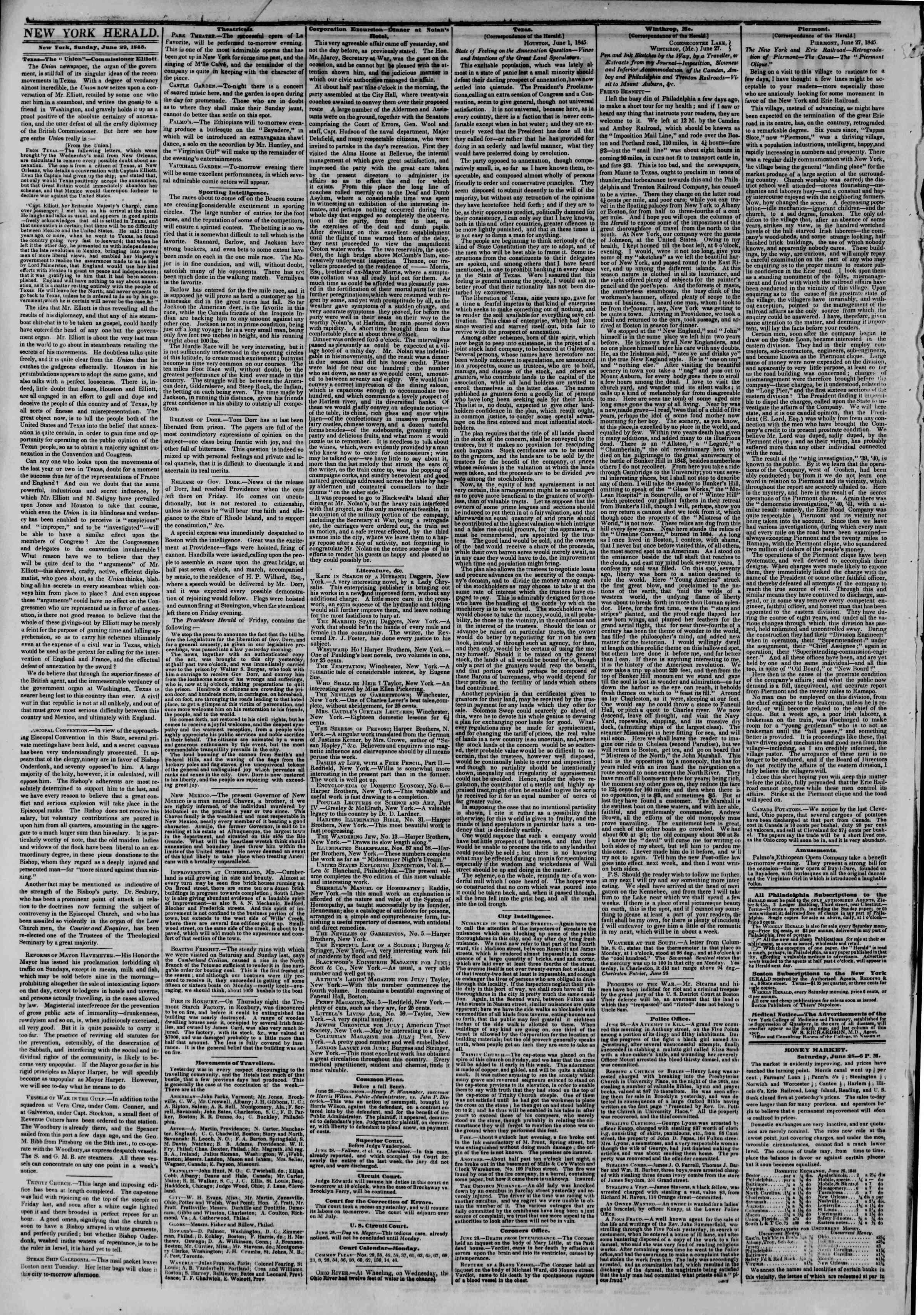 June 29, 1845 Tarihli The New York Herald Gazetesi Sayfa 2
