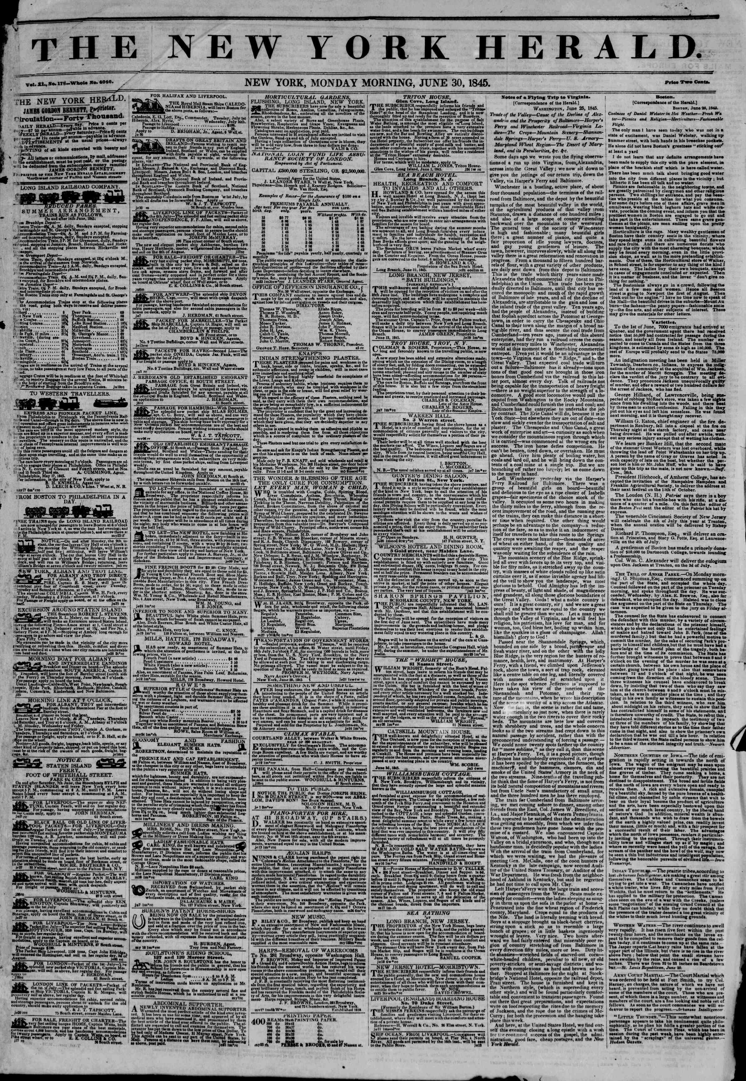 30 Haziran 1845 tarihli The New York Herald Gazetesi Sayfa 1