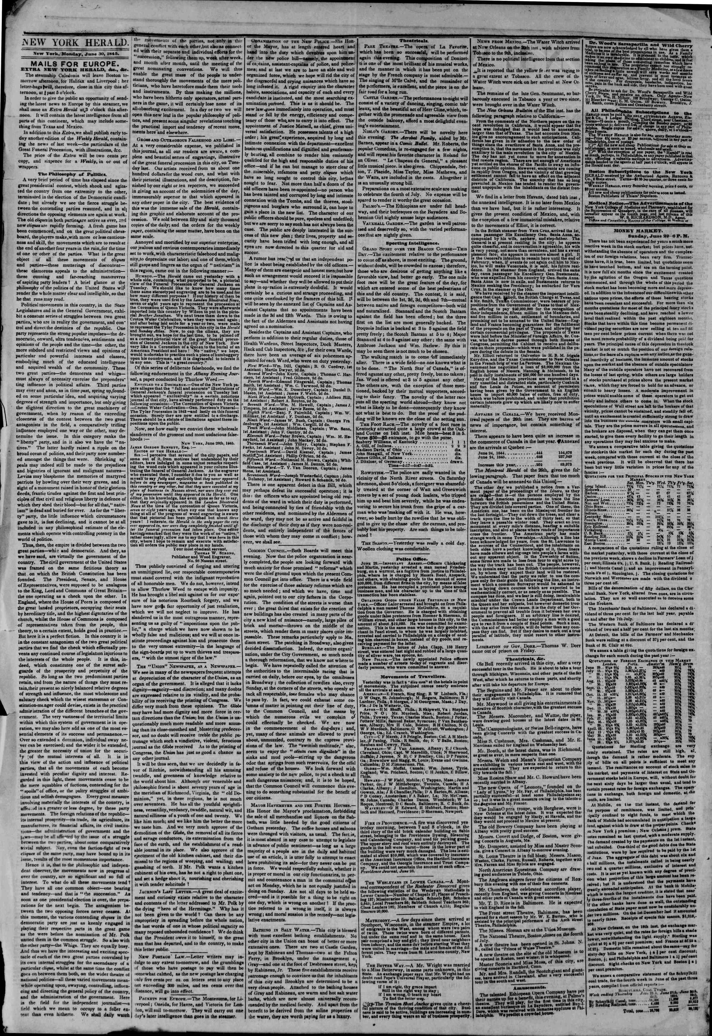 June 30, 1845 Tarihli The New York Herald Gazetesi Sayfa 4