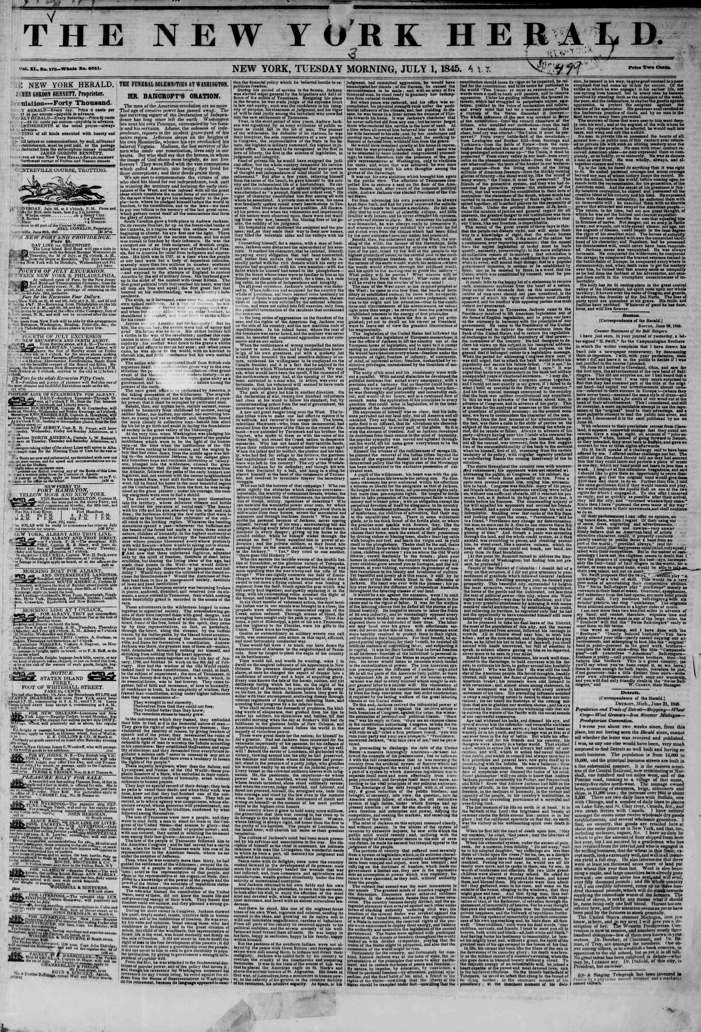 July 1, 1845 Tarihli The New York Herald Gazetesi Sayfa 1