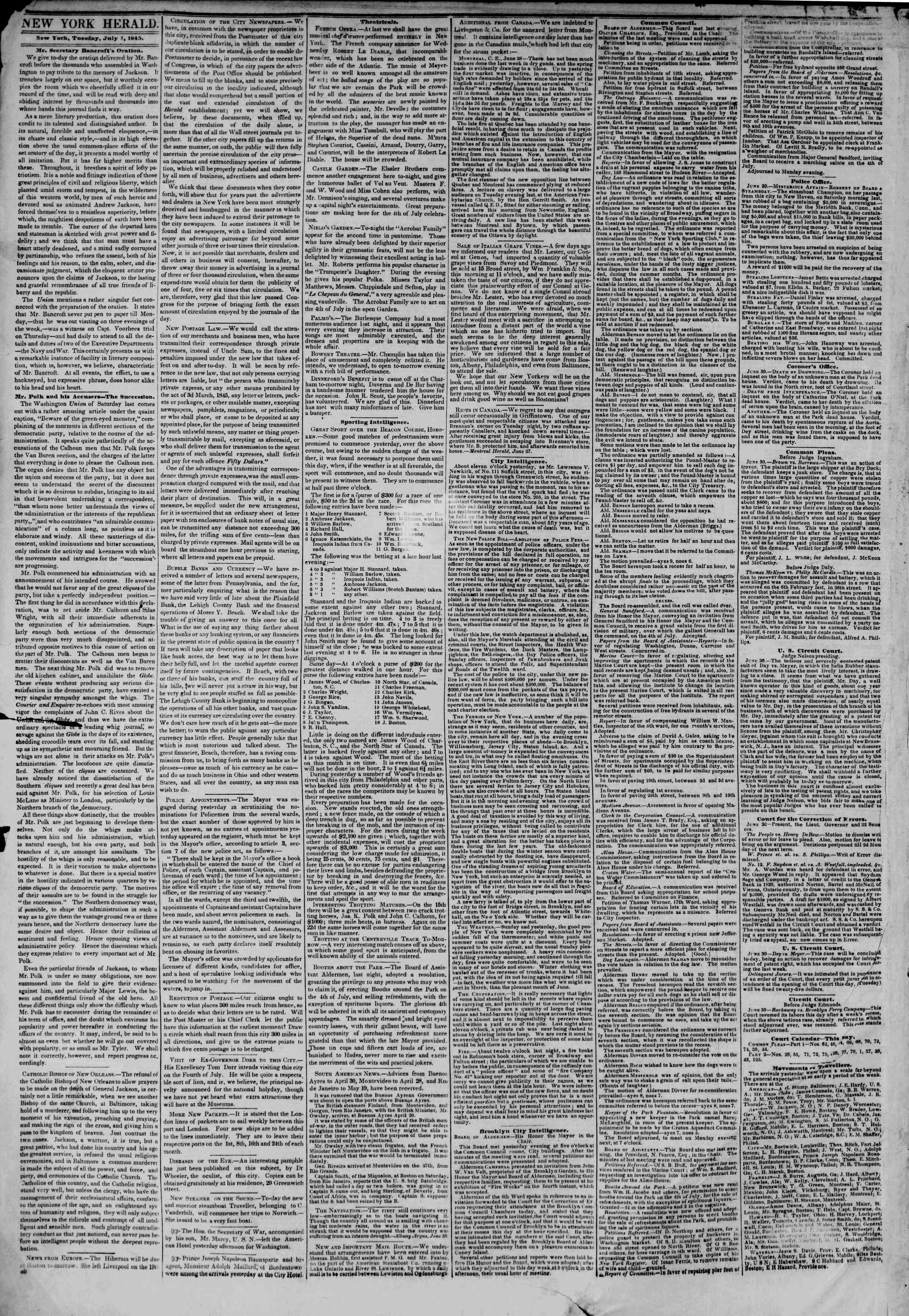 Newspaper of The New York Herald dated July 1, 1845 Page 2