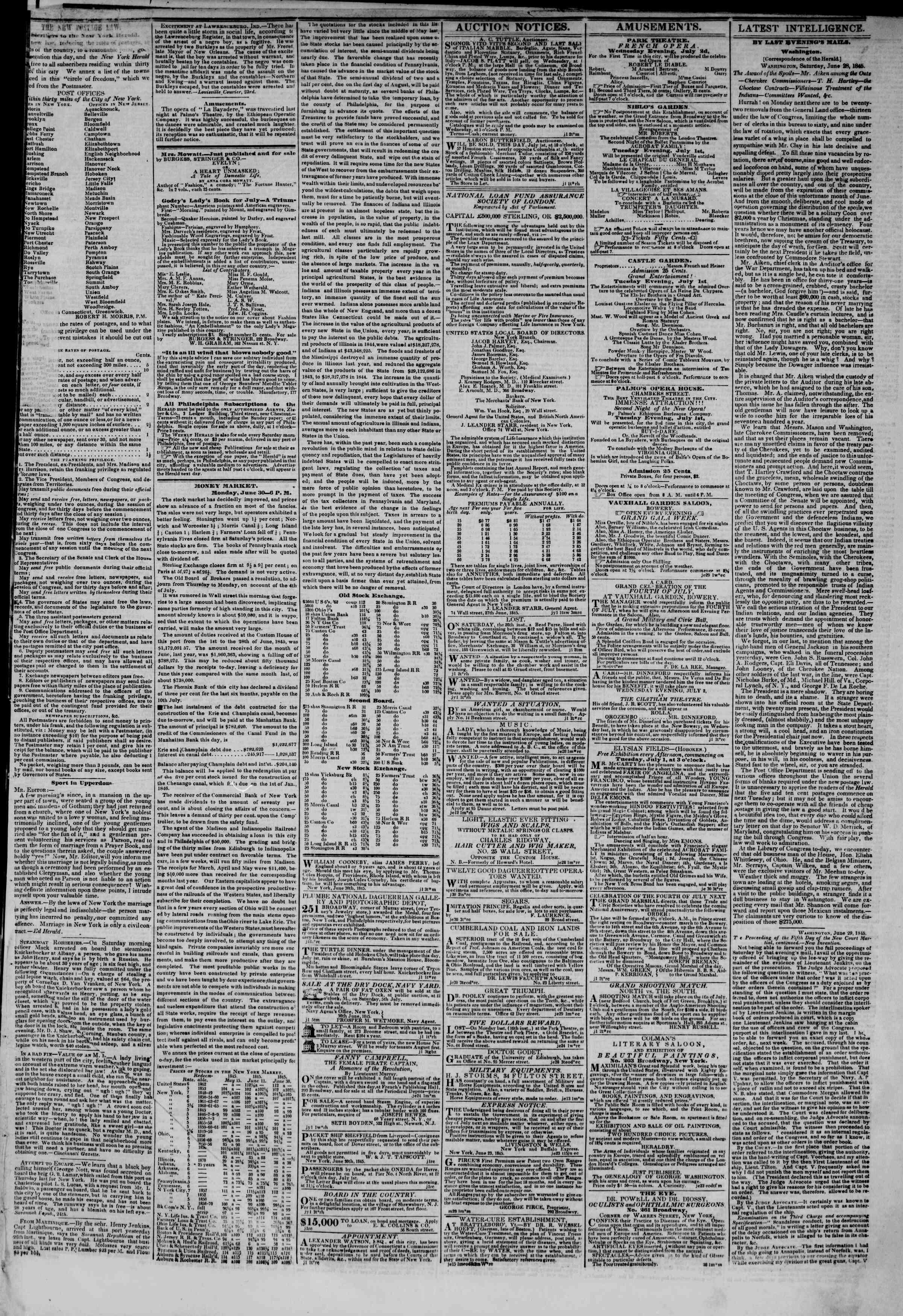 July 1, 1845 Tarihli The New York Herald Gazetesi Sayfa 3