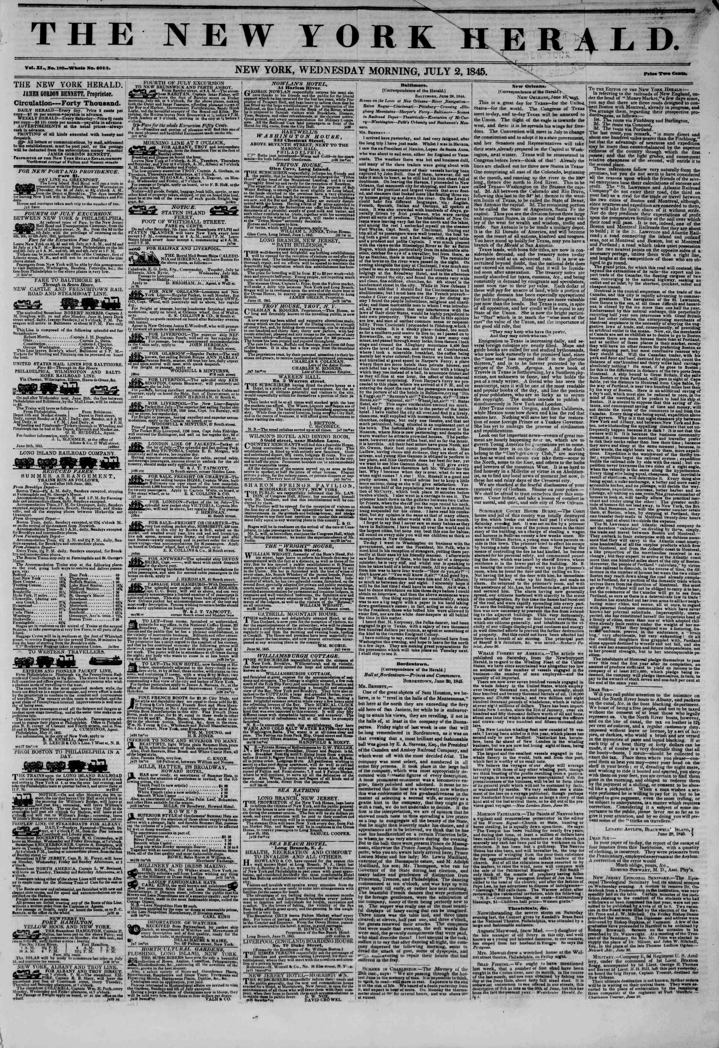2 Temmuz 1845 tarihli The New York Herald Gazetesi Sayfa 1