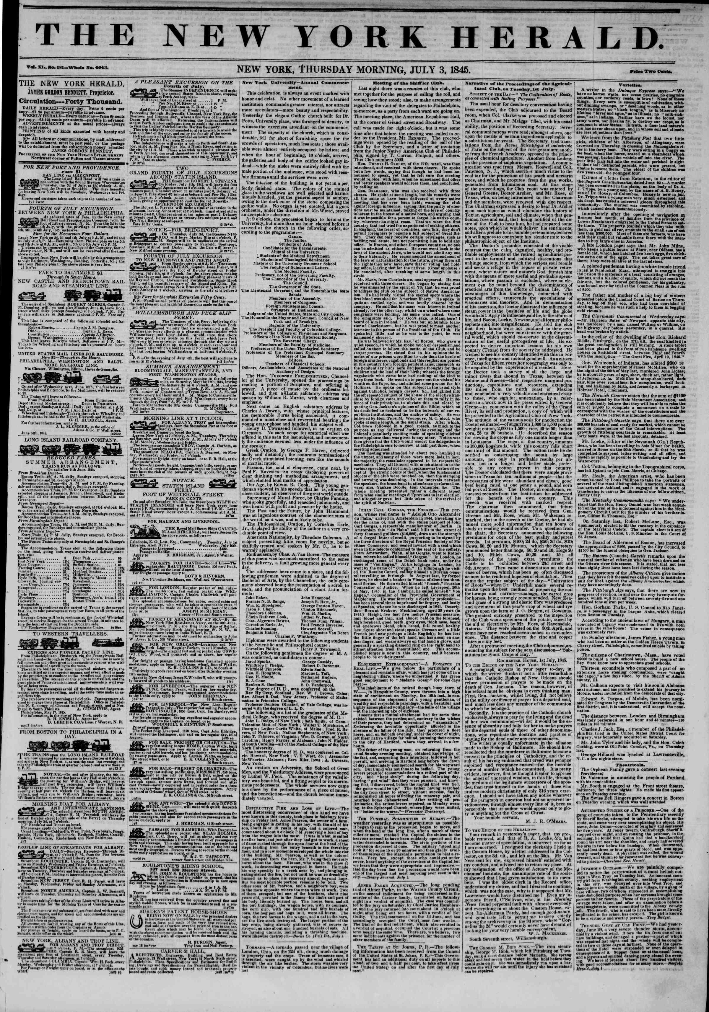 July 3, 1845 Tarihli The New York Herald Gazetesi Sayfa 1