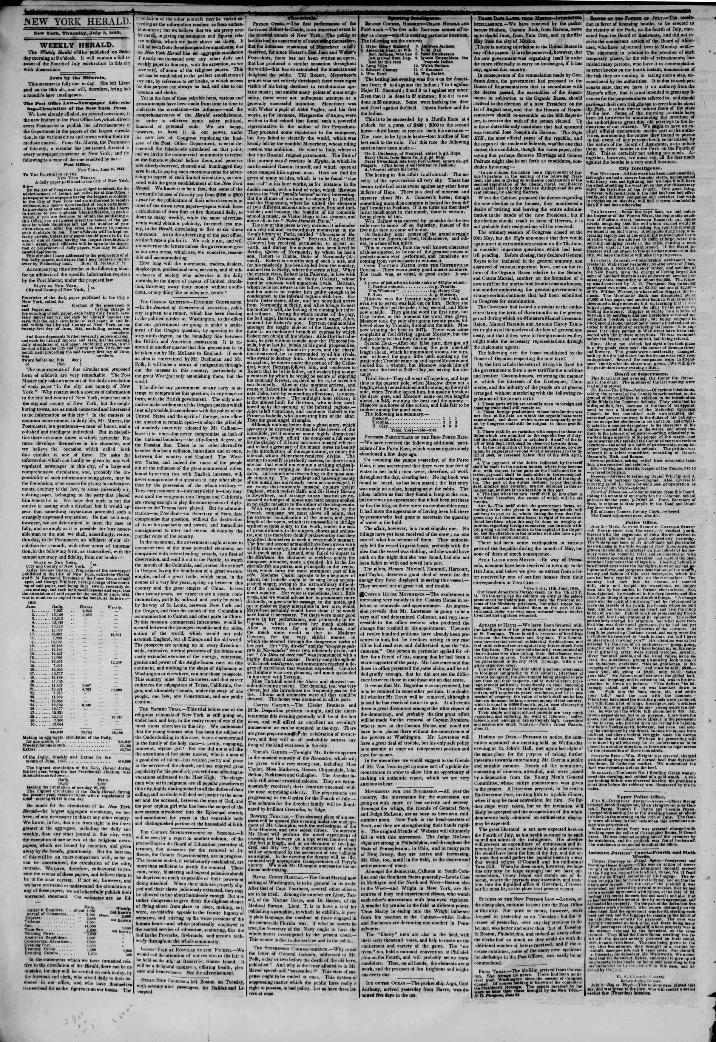 July 3, 1845 Tarihli The New York Herald Gazetesi Sayfa 2