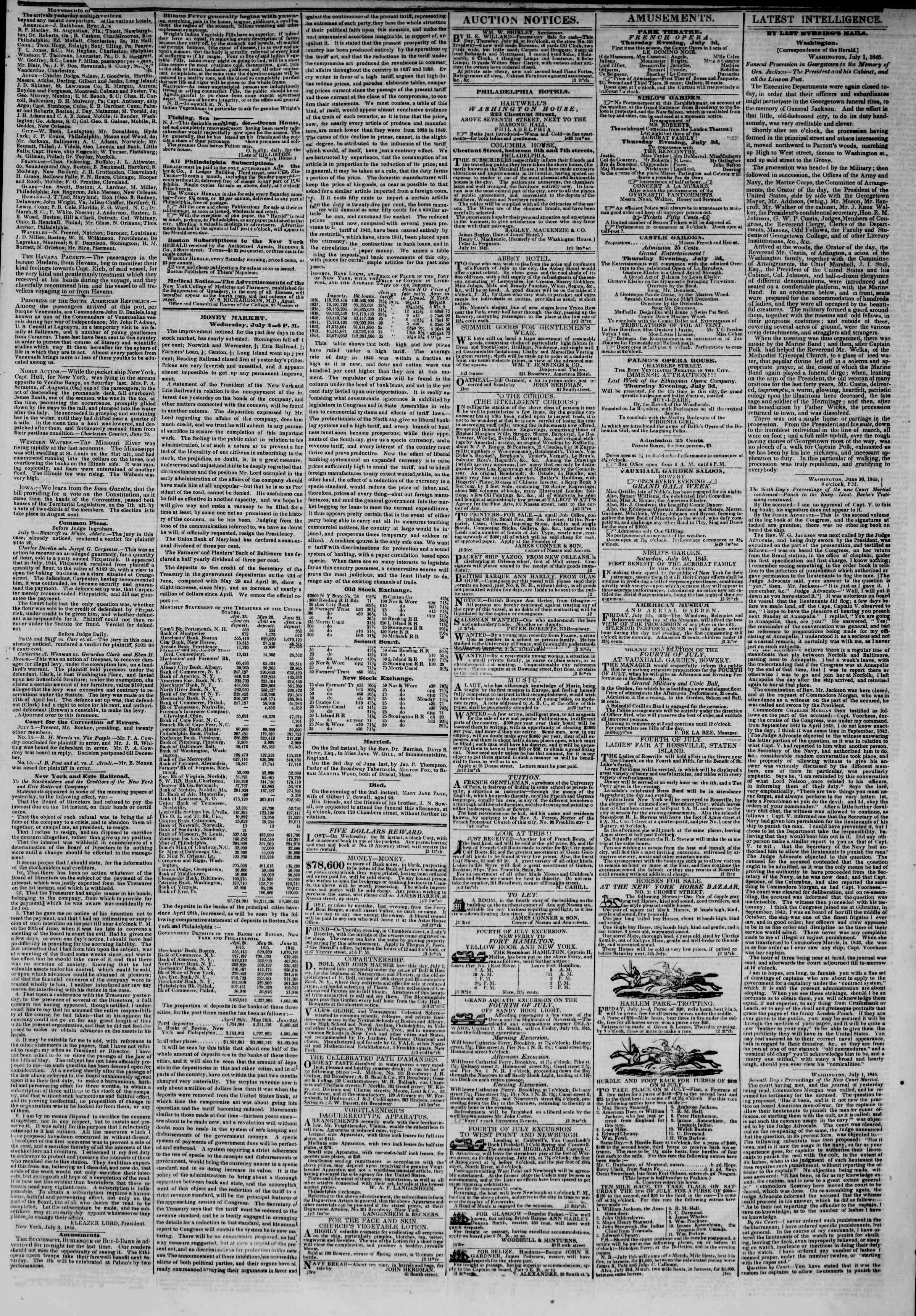 Newspaper of The New York Herald dated July 3, 1845 Page 3