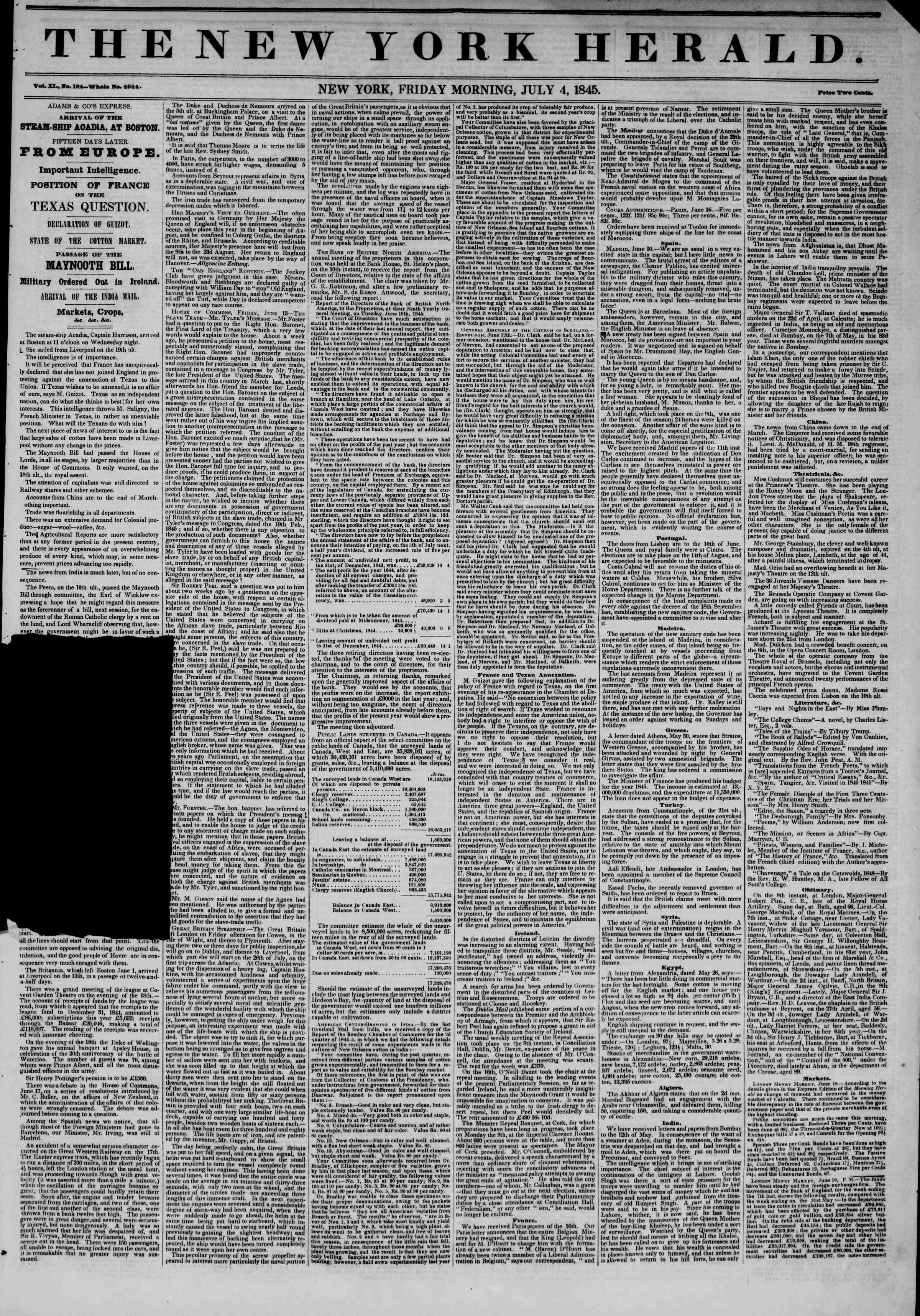 Newspaper of The New York Herald dated July 4, 1845 Page 1