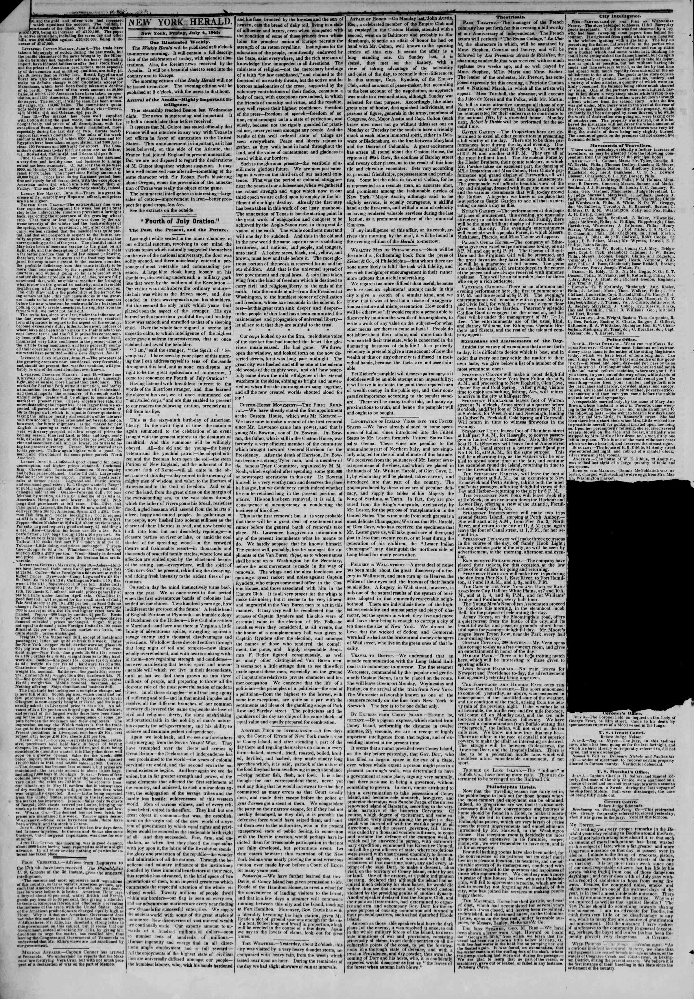 Newspaper of The New York Herald dated July 4, 1845 Page 2