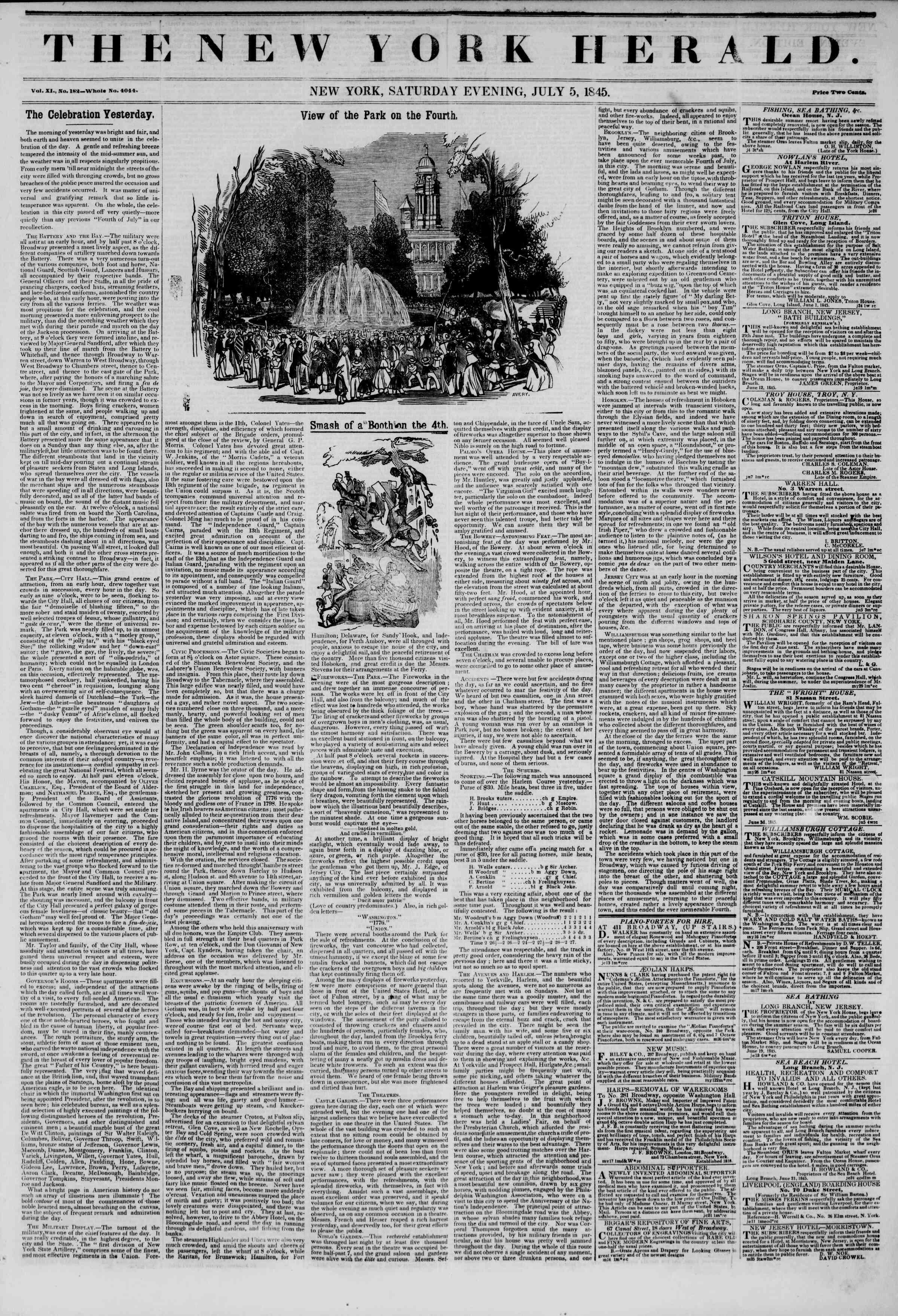 July 5, 1845 Tarihli The New York Herald Gazetesi Sayfa 1