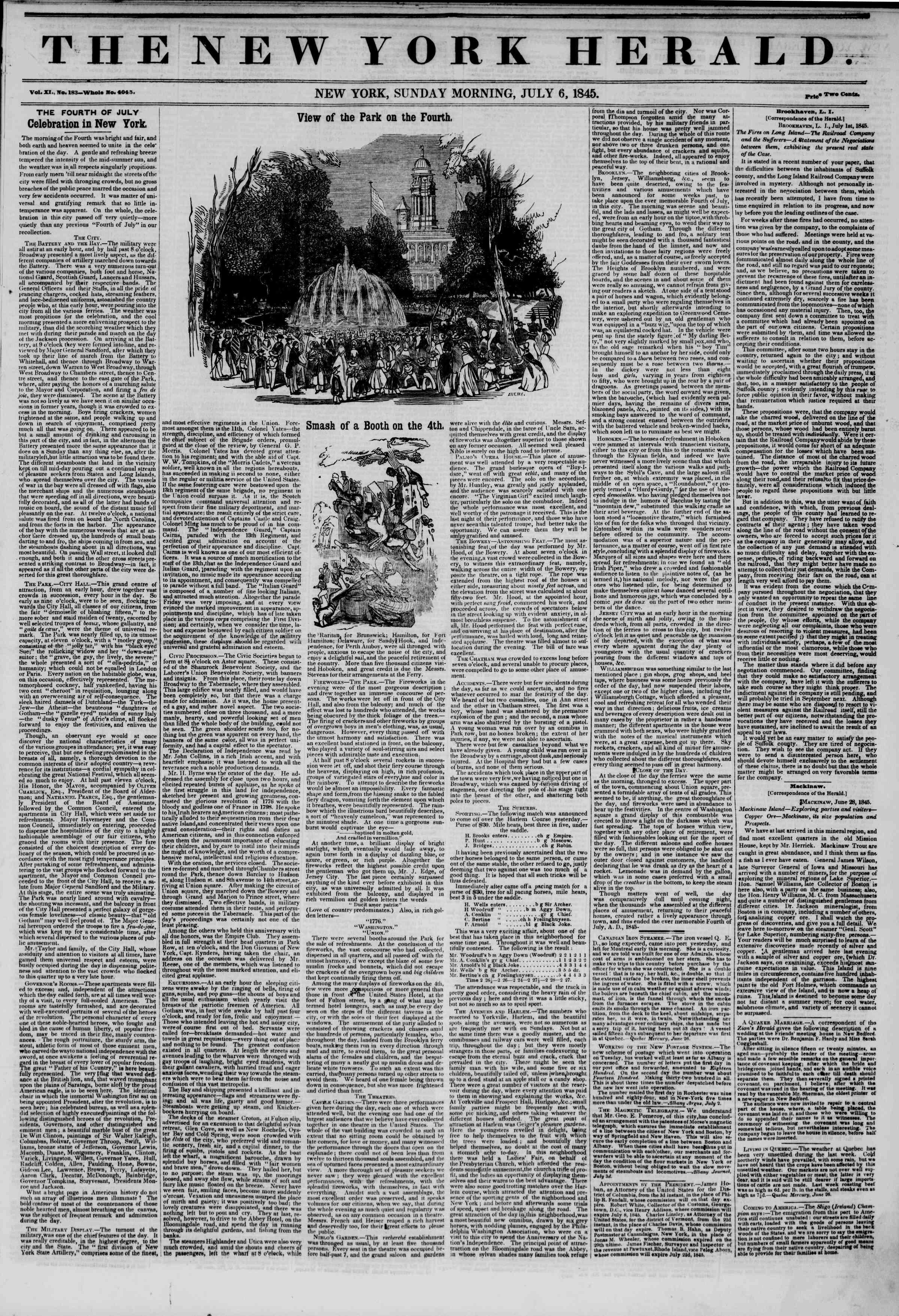 July 6, 1845 Tarihli The New York Herald Gazetesi Sayfa 1
