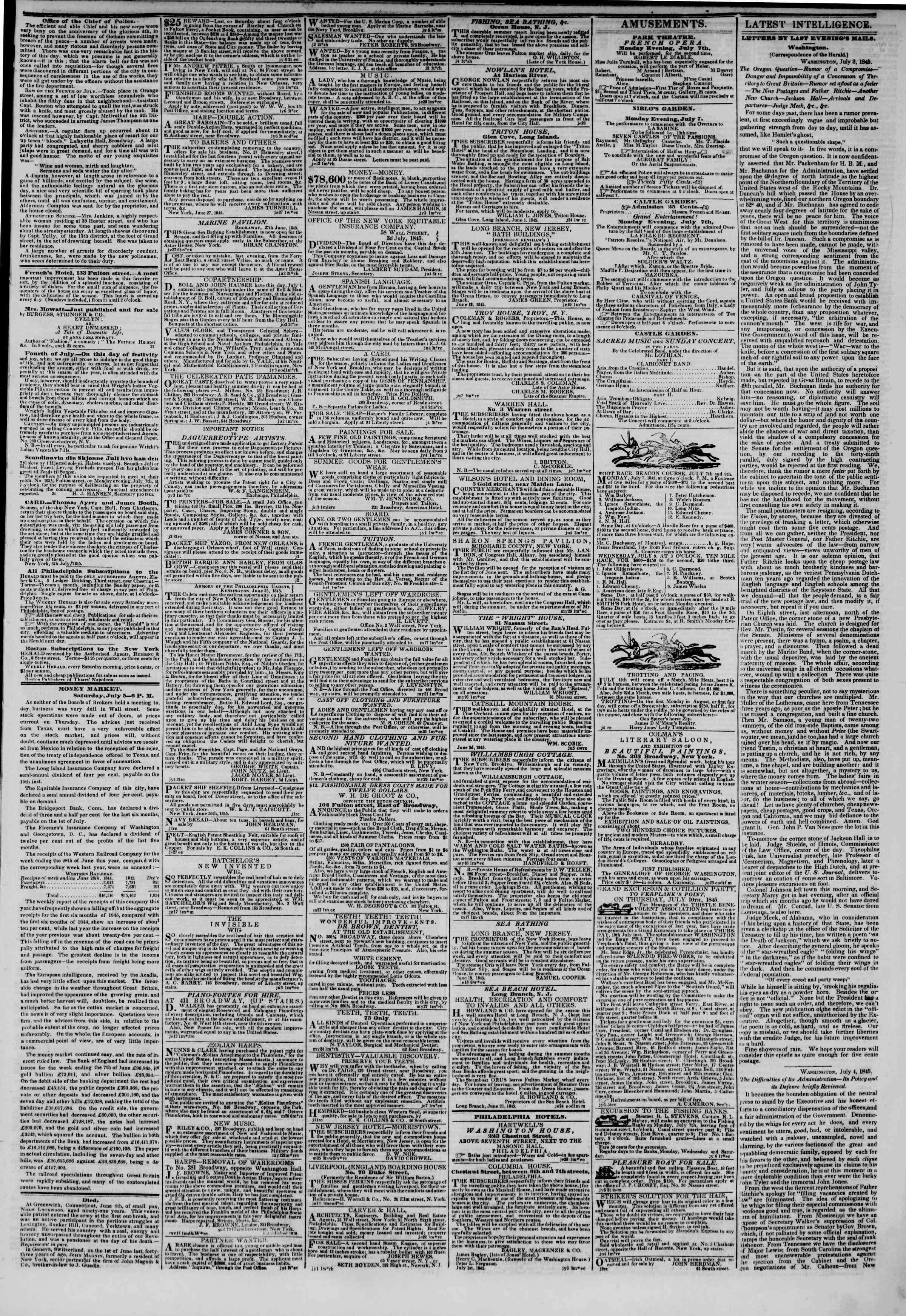 Newspaper of The New York Herald dated July 6, 1845 Page 3