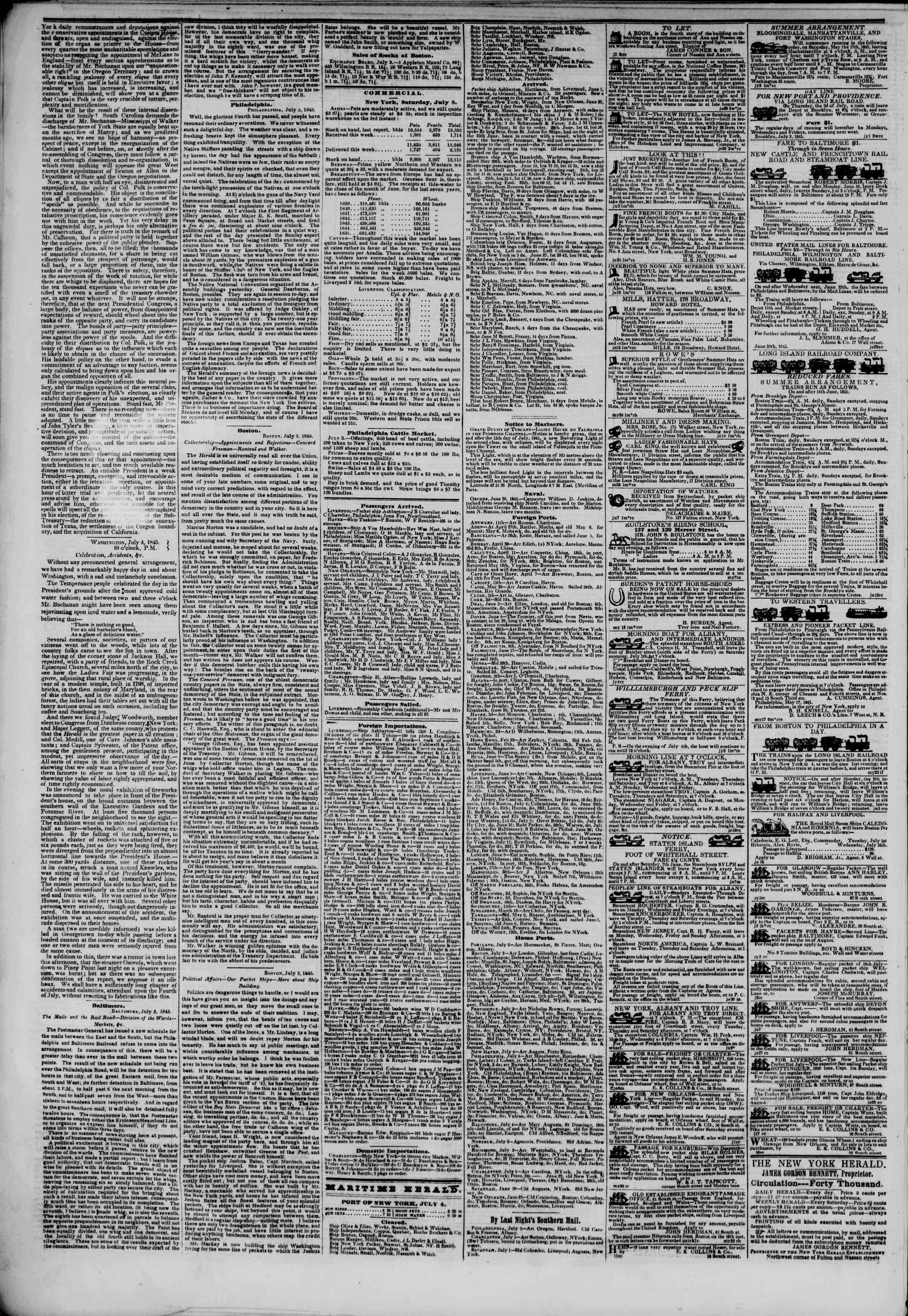 Newspaper of The New York Herald dated July 6, 1845 Page 4