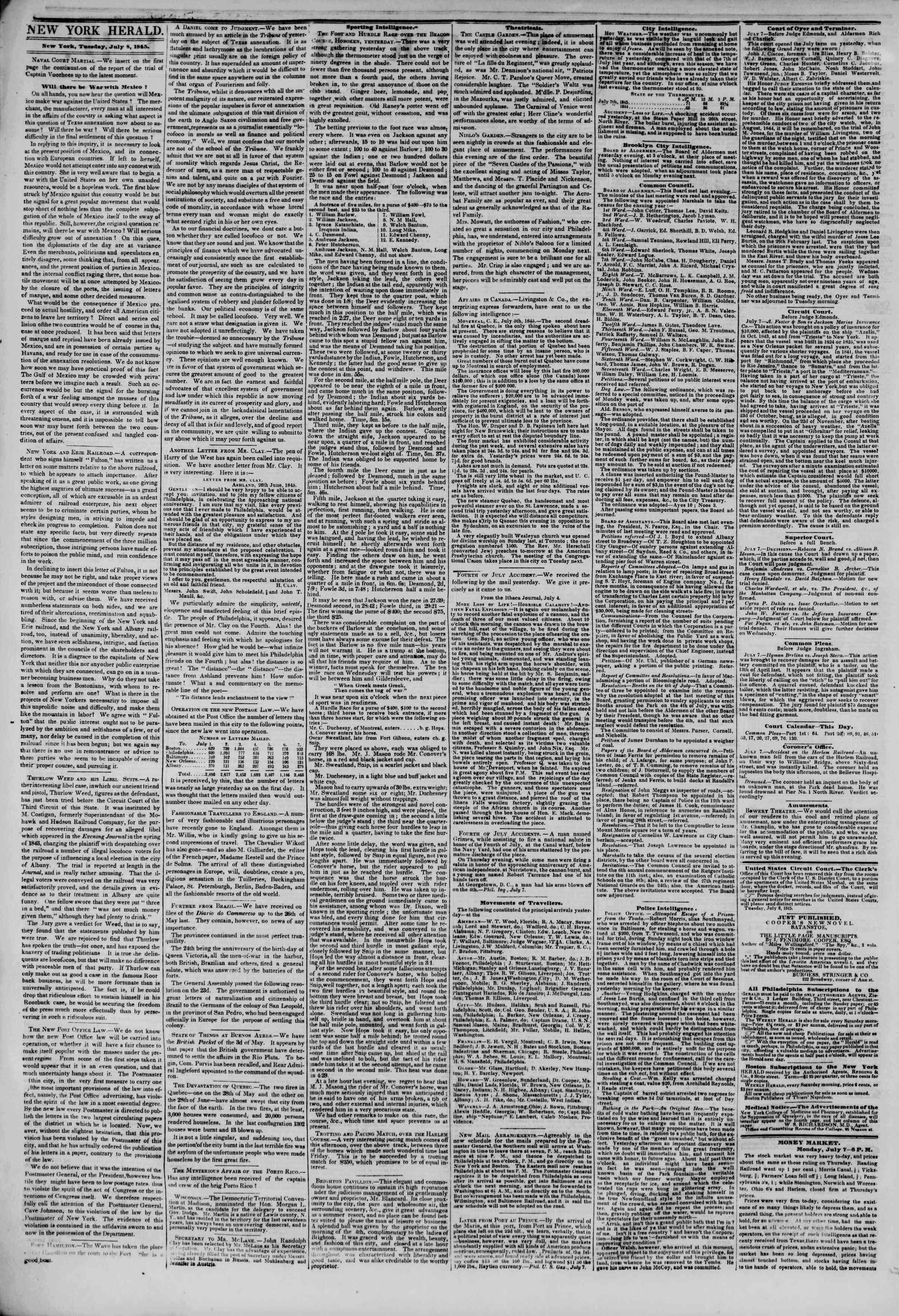 8 Temmuz 1845 tarihli The New York Herald Gazetesi Sayfa 2