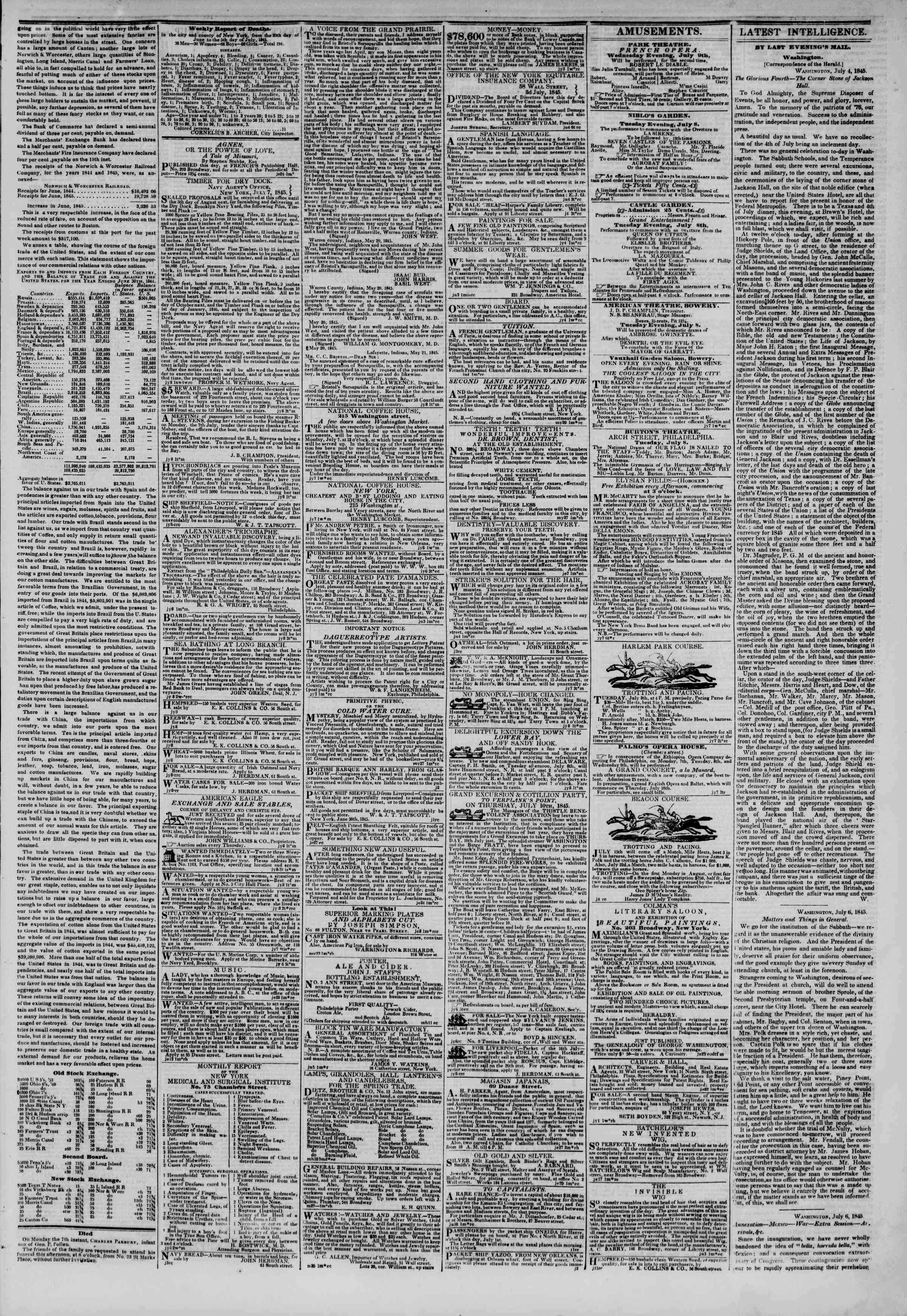 July 8, 1845 Tarihli The New York Herald Gazetesi Sayfa 3