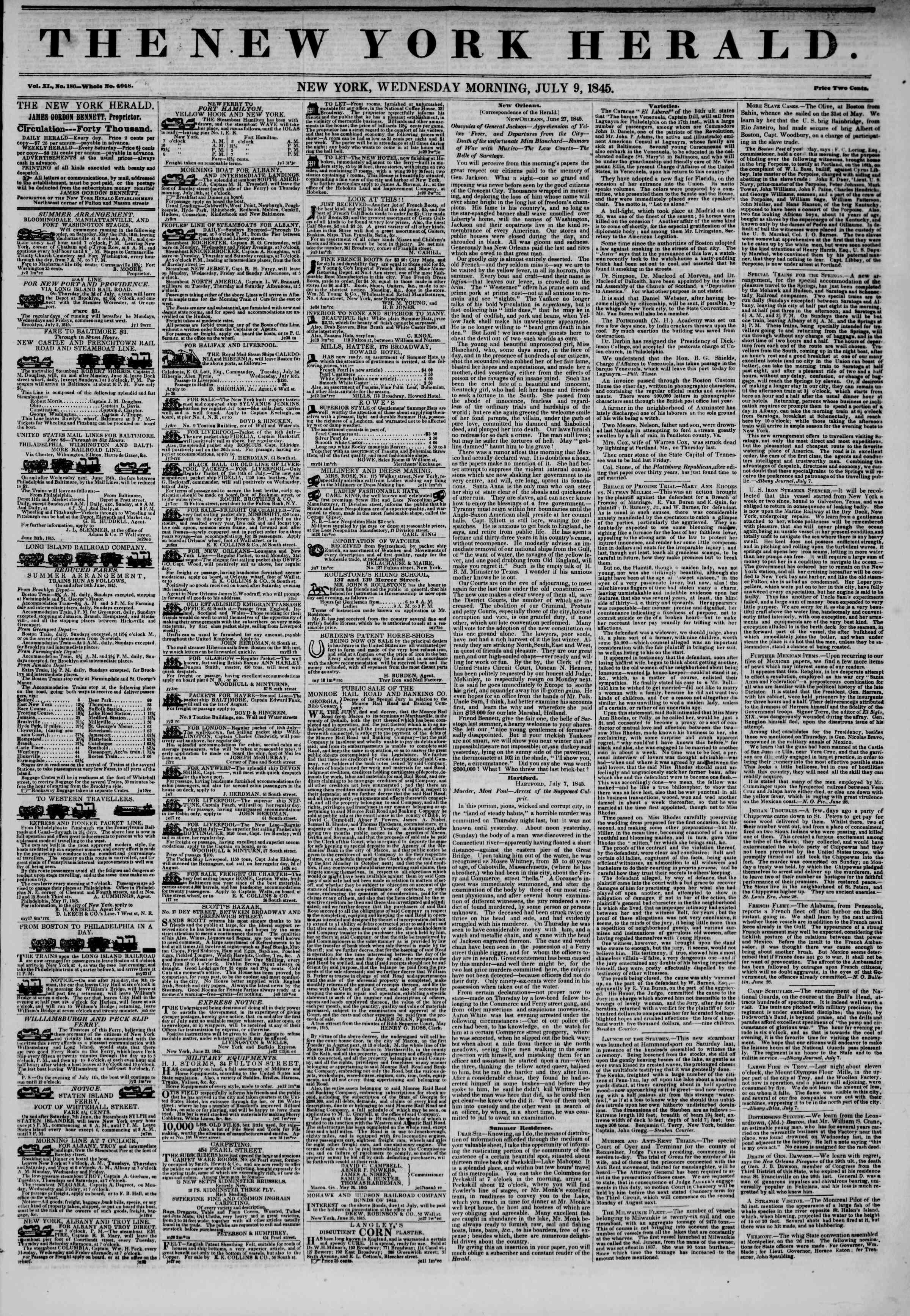 July 9, 1845 Tarihli The New York Herald Gazetesi Sayfa 1