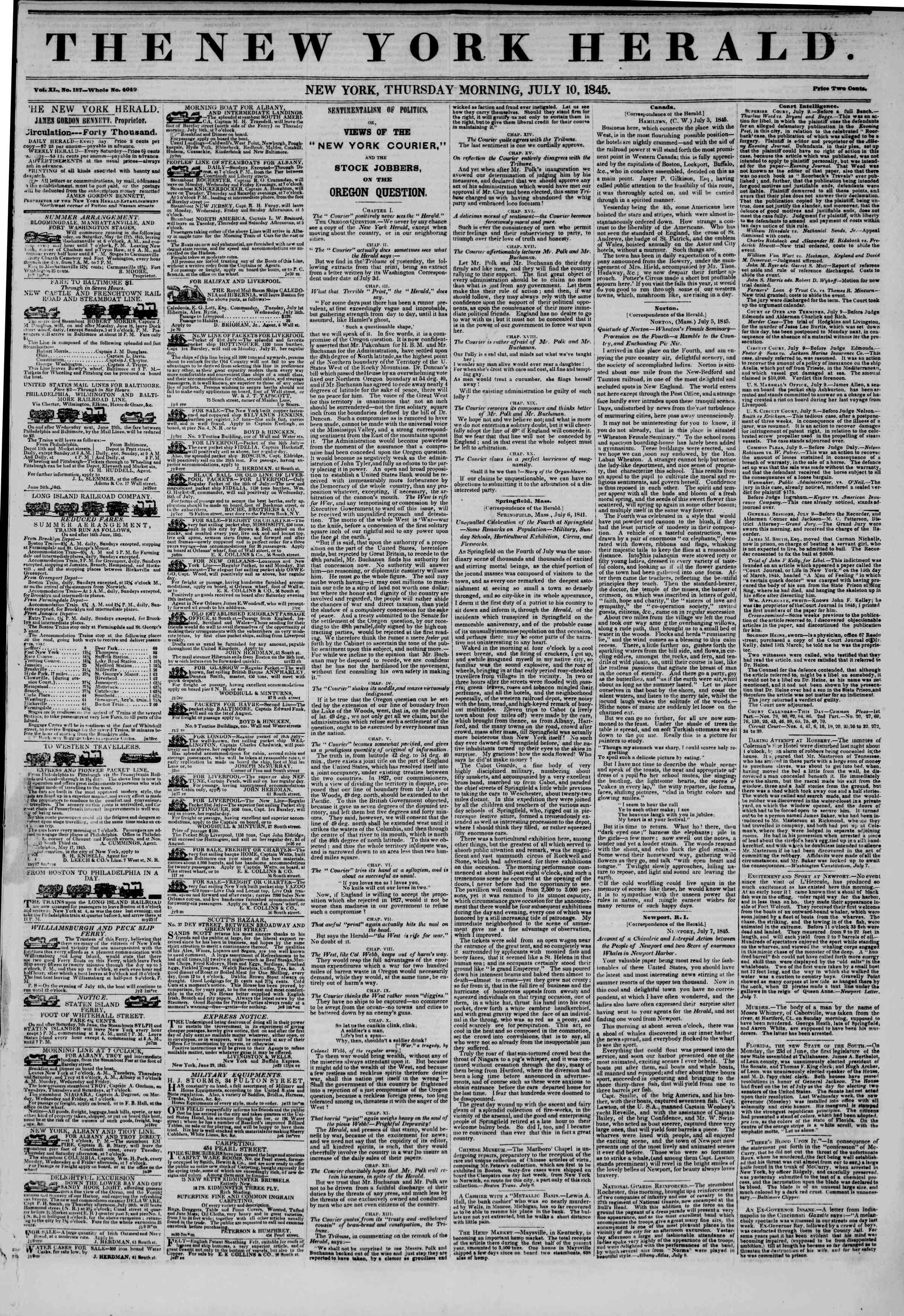 Newspaper of The New York Herald dated July 10, 1845 Page 1
