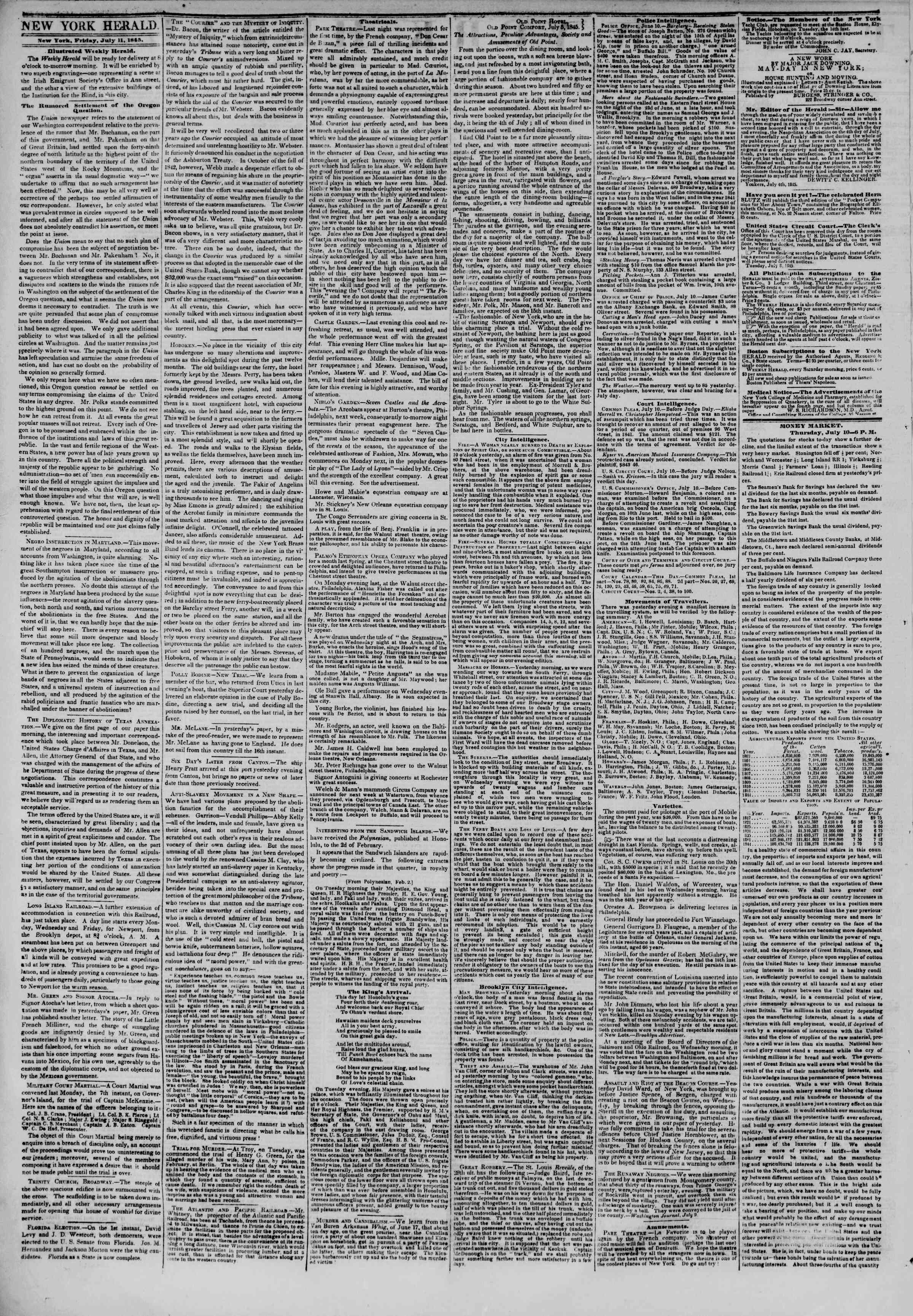 Newspaper of The New York Herald dated July 11, 1845 Page 2
