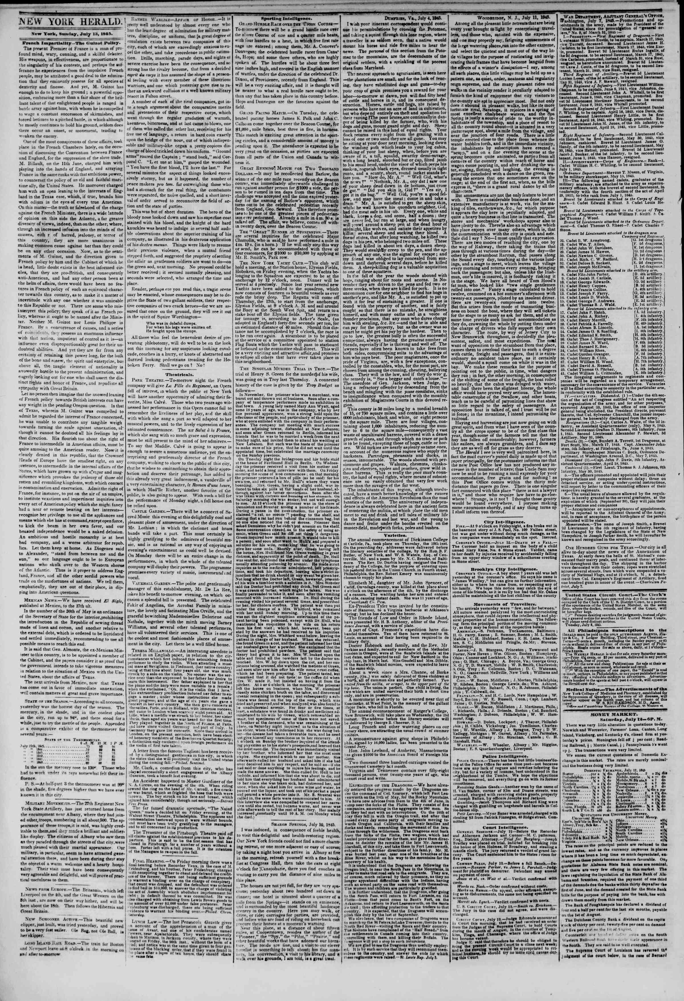 Newspaper of The New York Herald dated July 13, 1845 Page 2