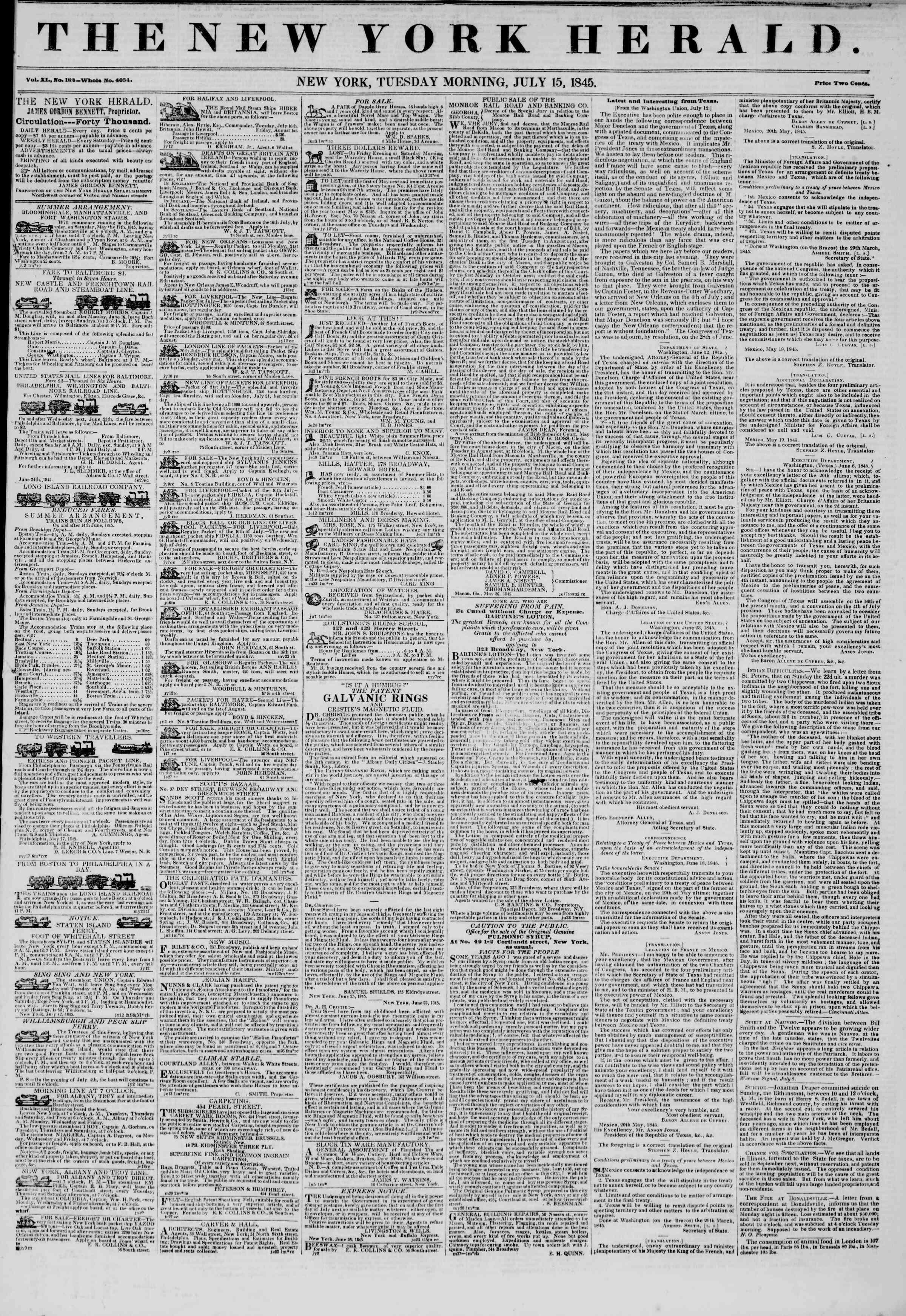 July 15, 1845 Tarihli The New York Herald Gazetesi Sayfa 1