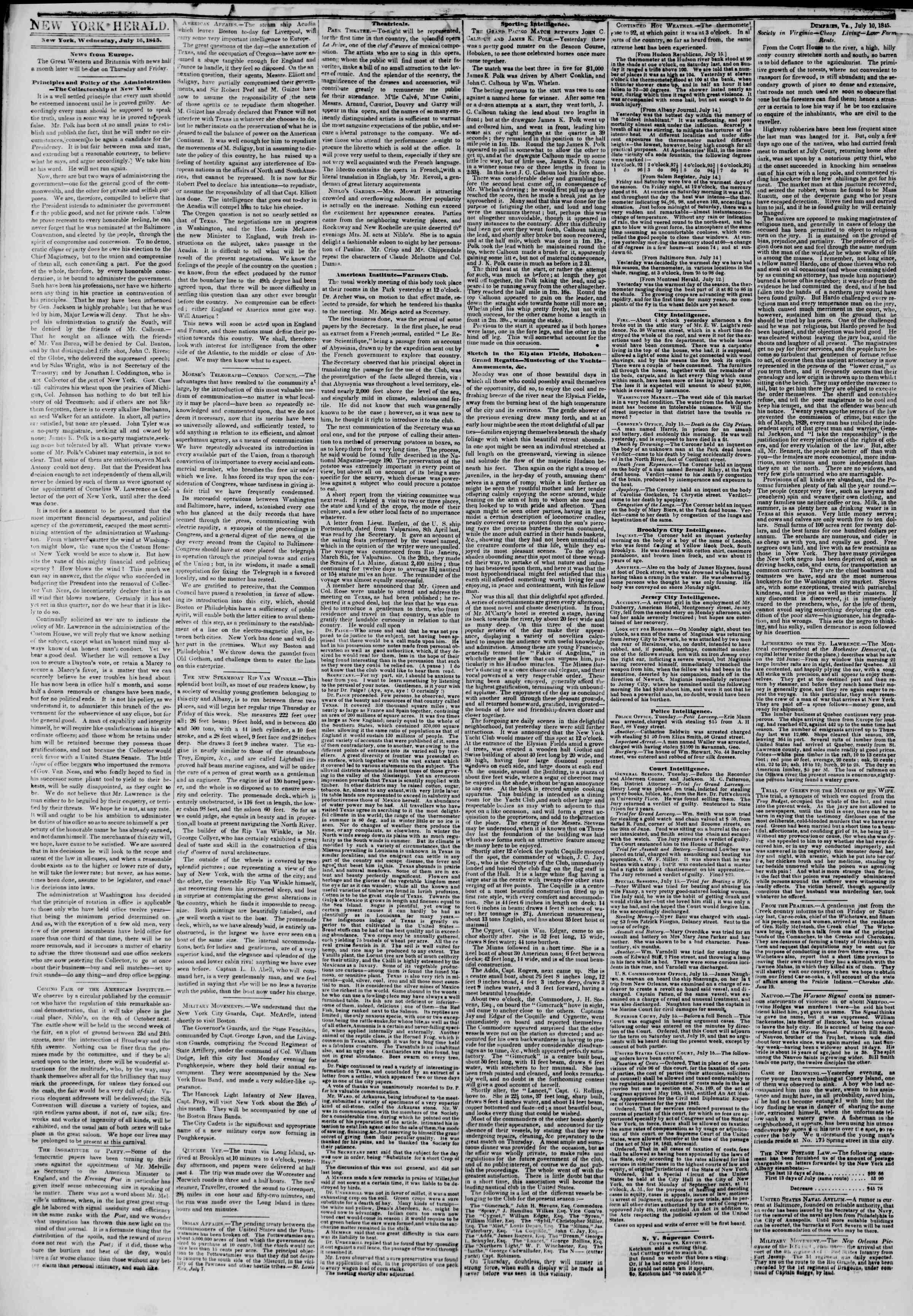 July 16, 1845 Tarihli The New York Herald Gazetesi Sayfa 2