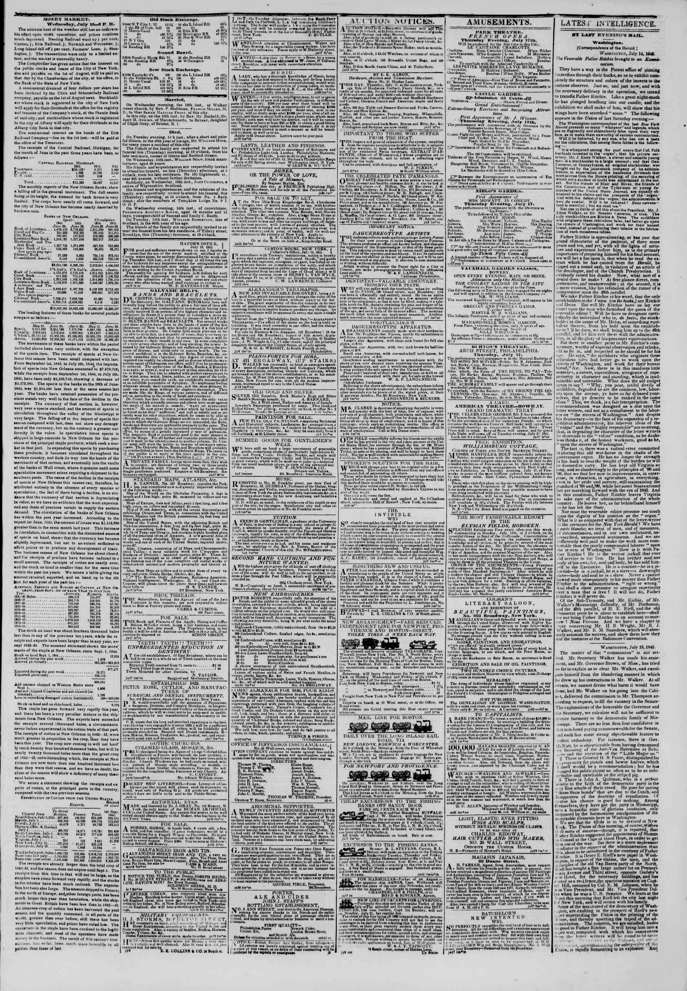 July 17, 1845 Tarihli The New York Herald Gazetesi Sayfa 3