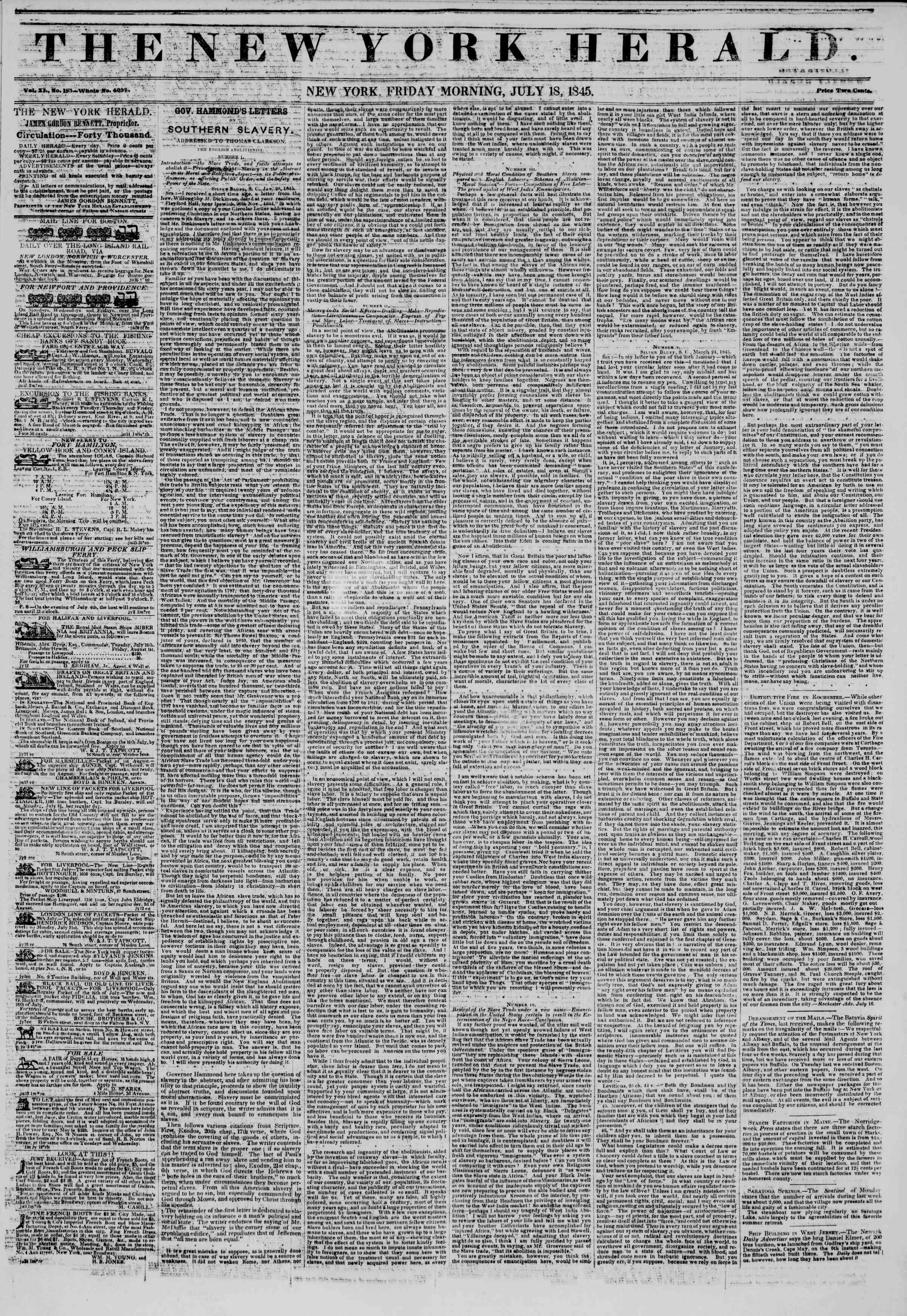 July 18, 1845 Tarihli The New York Herald Gazetesi Sayfa 1