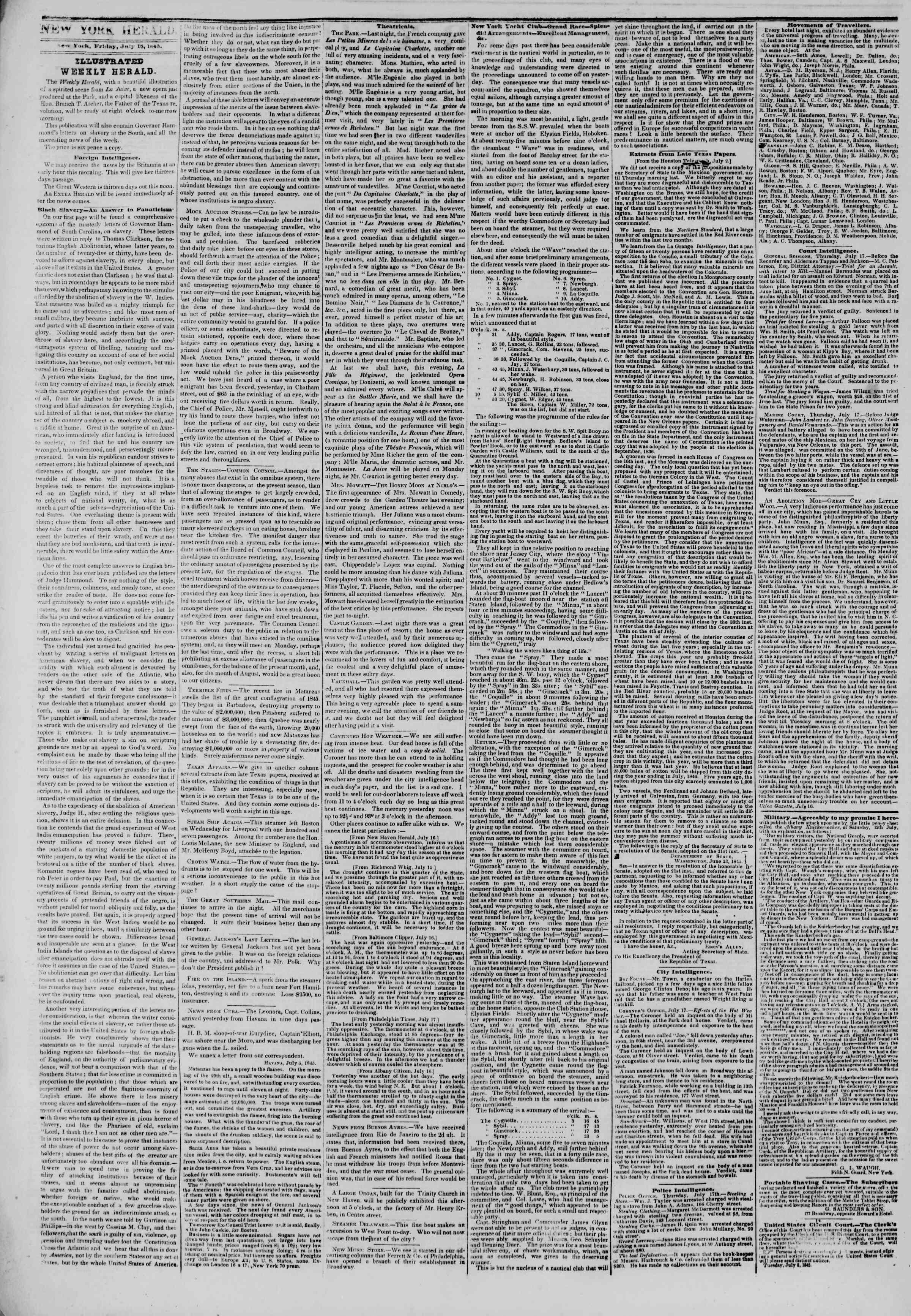 July 18, 1845 Tarihli The New York Herald Gazetesi Sayfa 2