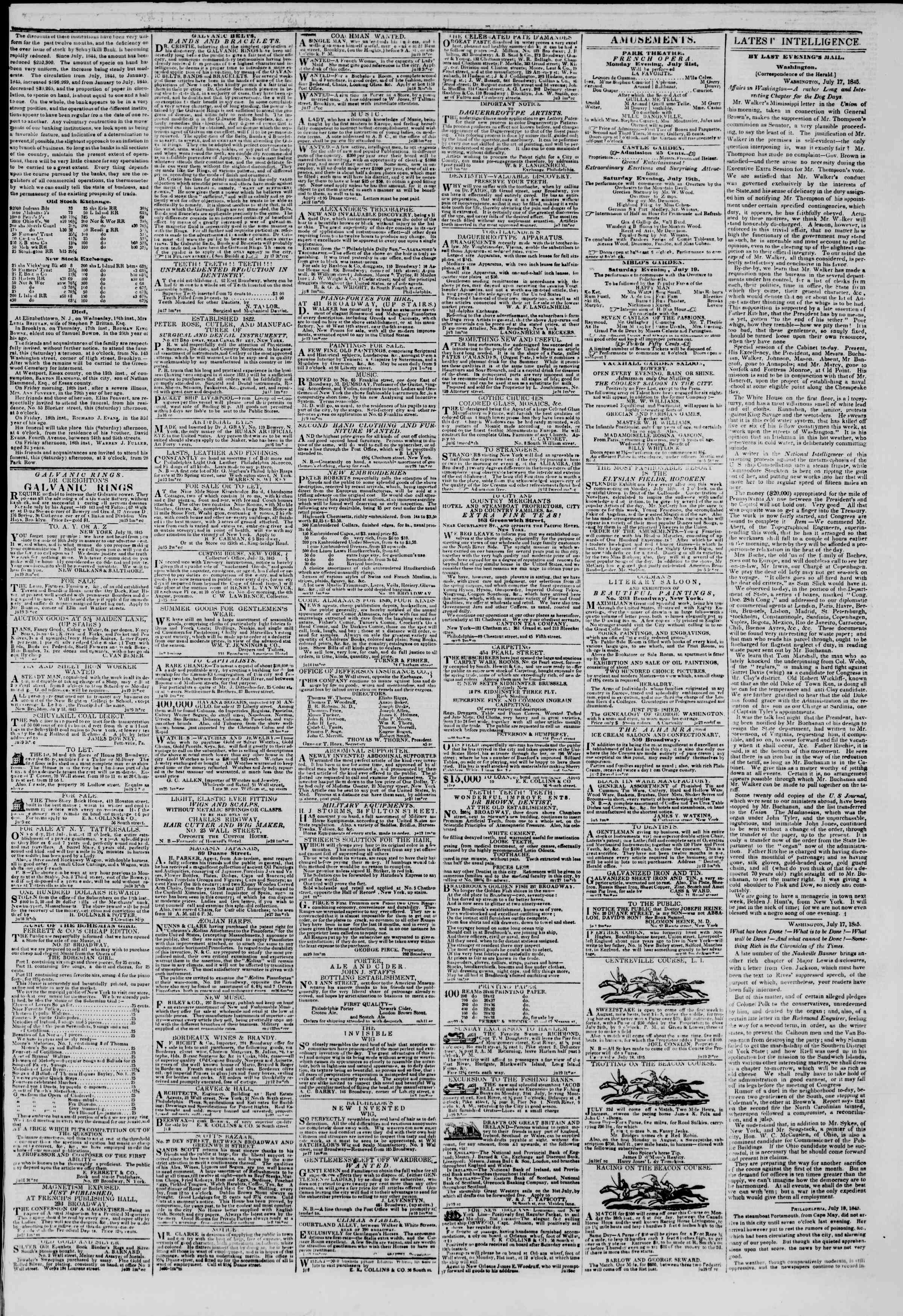 July 19, 1845 Tarihli The New York Herald Gazetesi Sayfa 3