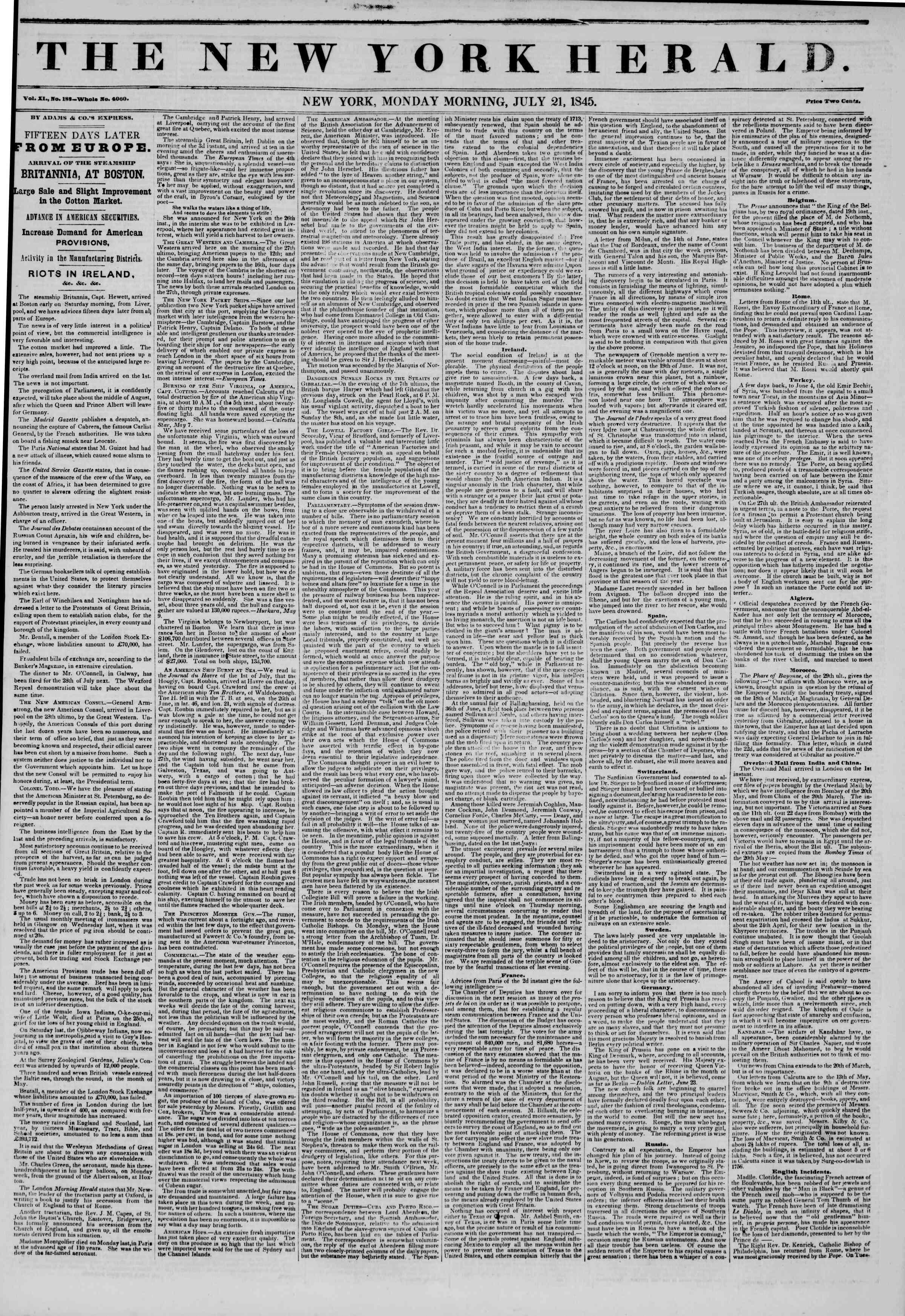 July 21, 1845 Tarihli The New York Herald Gazetesi Sayfa 1