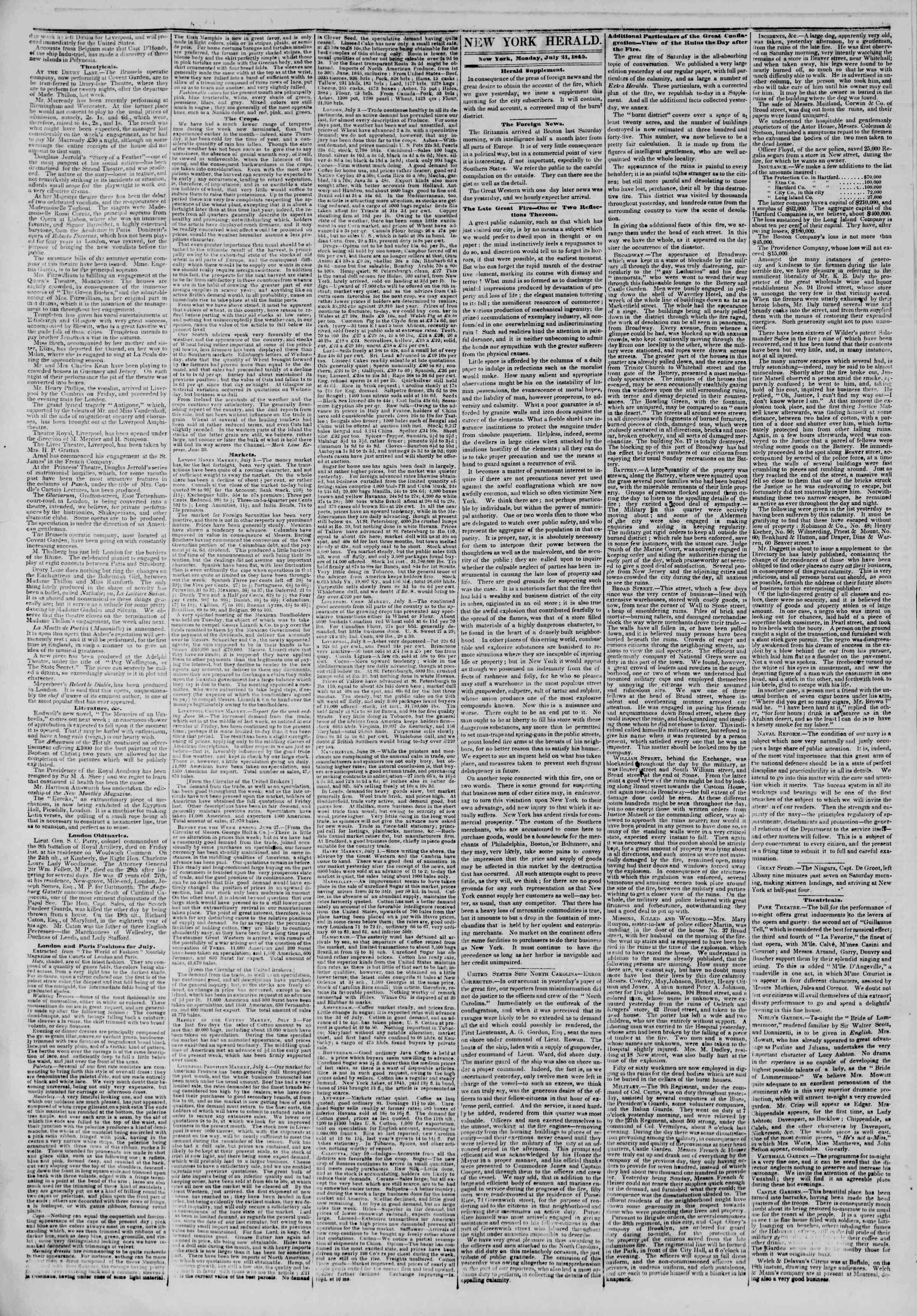 Newspaper of The New York Herald dated July 21, 1845 Page 2