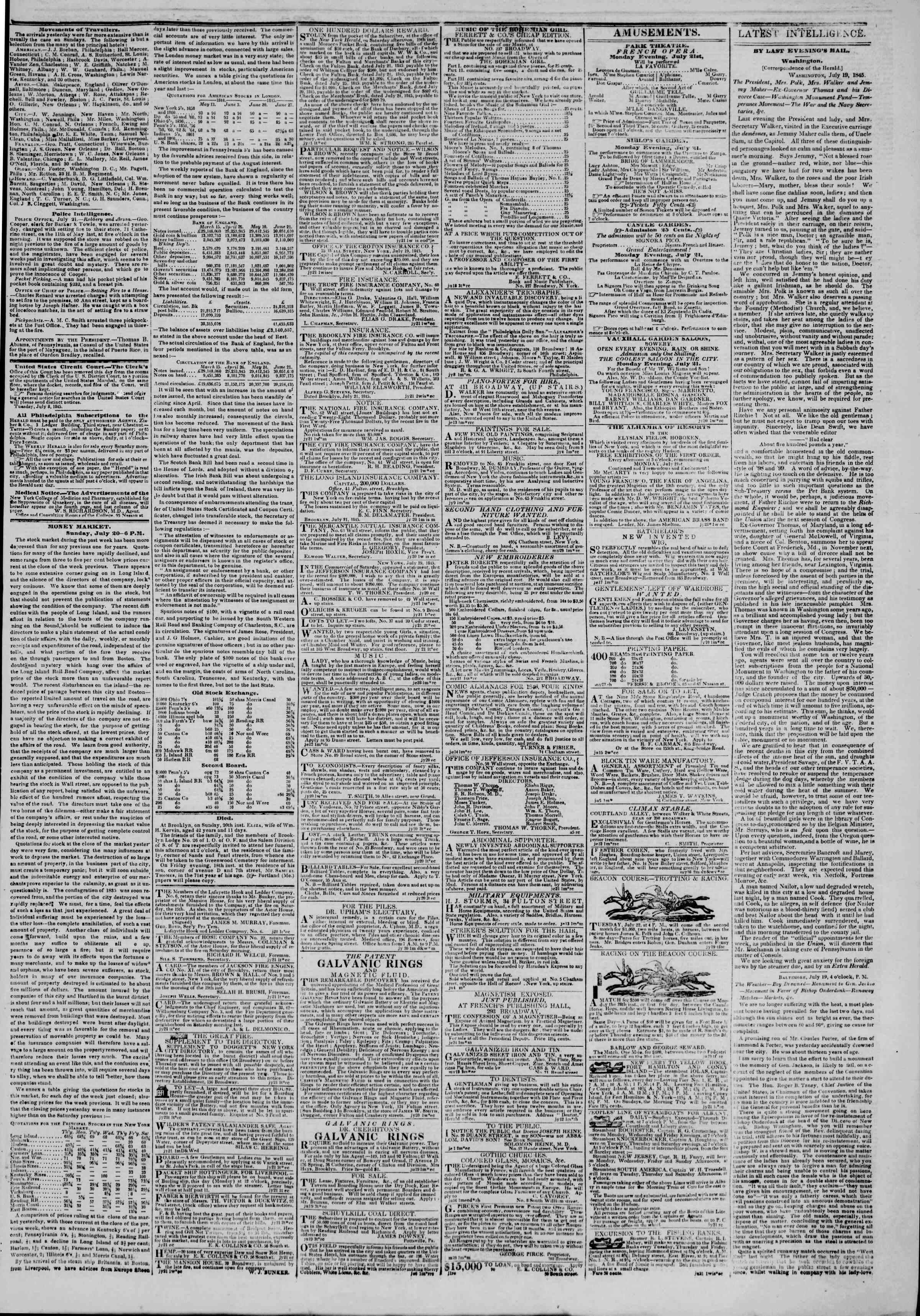 Newspaper of The New York Herald dated July 21, 1845 Page 3