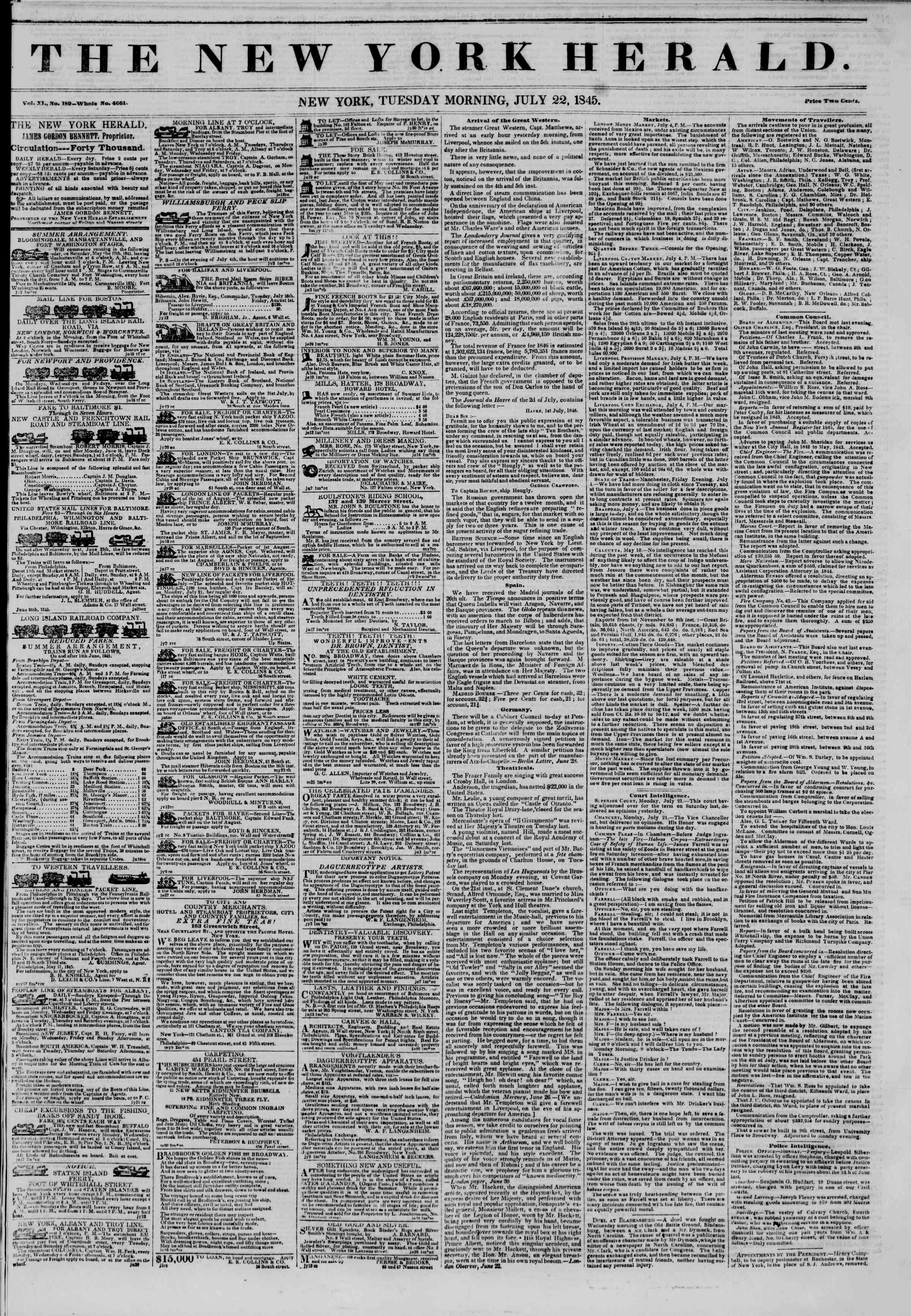 Newspaper of The New York Herald dated July 22, 1845 Page 1