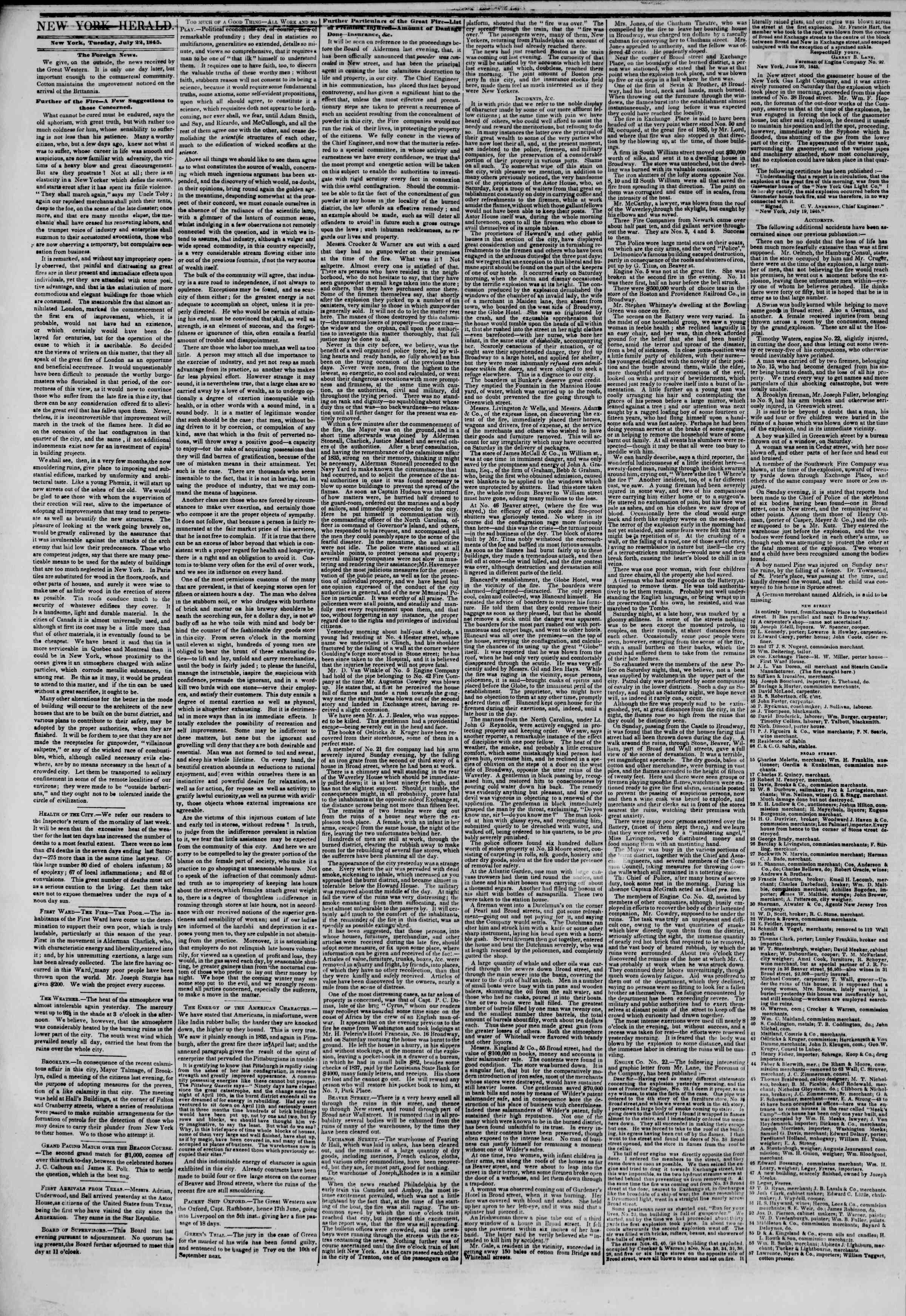 Newspaper of The New York Herald dated July 22, 1845 Page 2