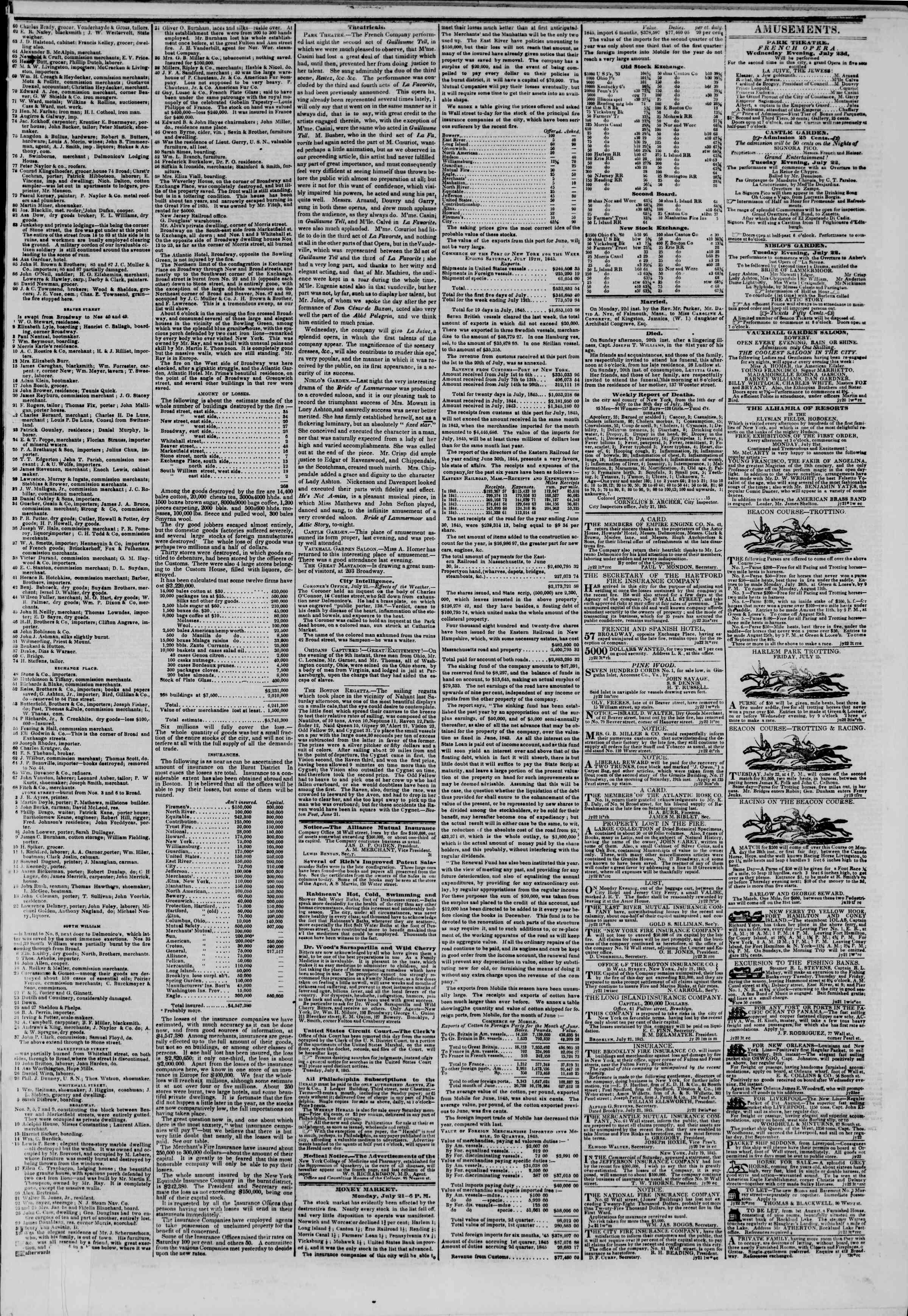 July 22, 1845 Tarihli The New York Herald Gazetesi Sayfa 3