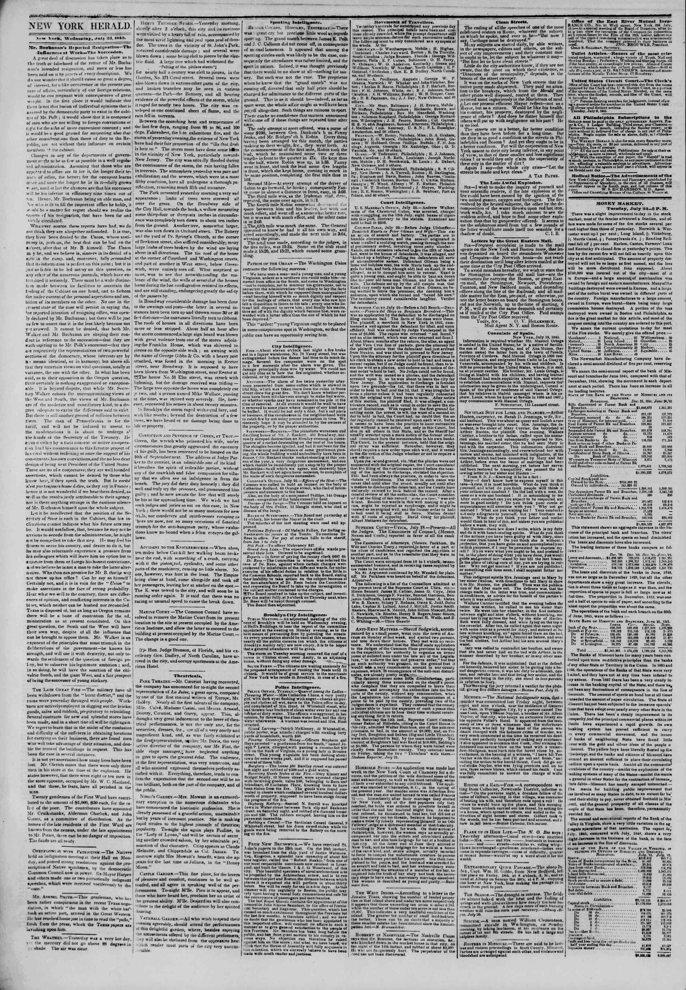 July 23, 1845 Tarihli The New York Herald Gazetesi Sayfa 2