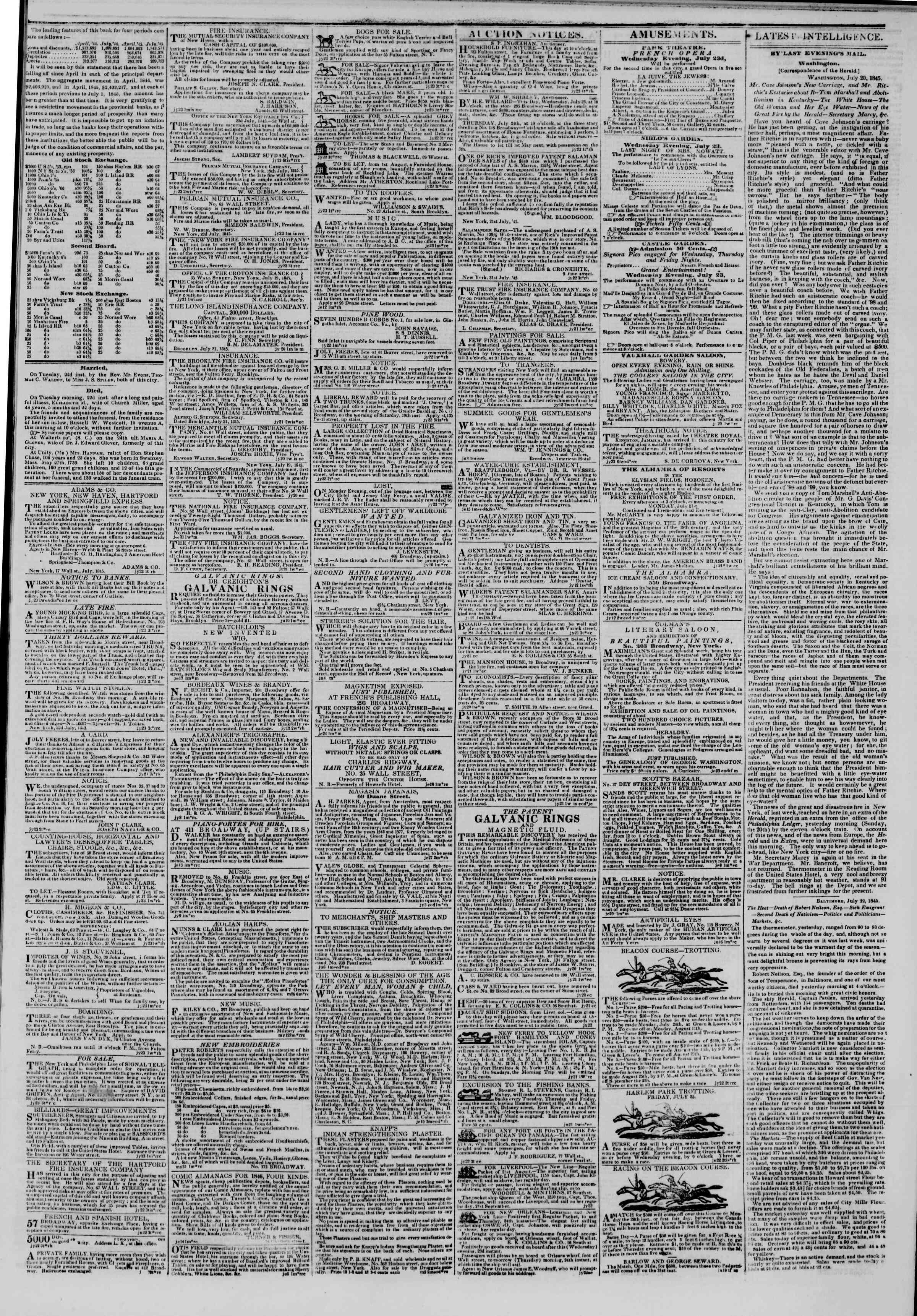 July 23, 1845 Tarihli The New York Herald Gazetesi Sayfa 3