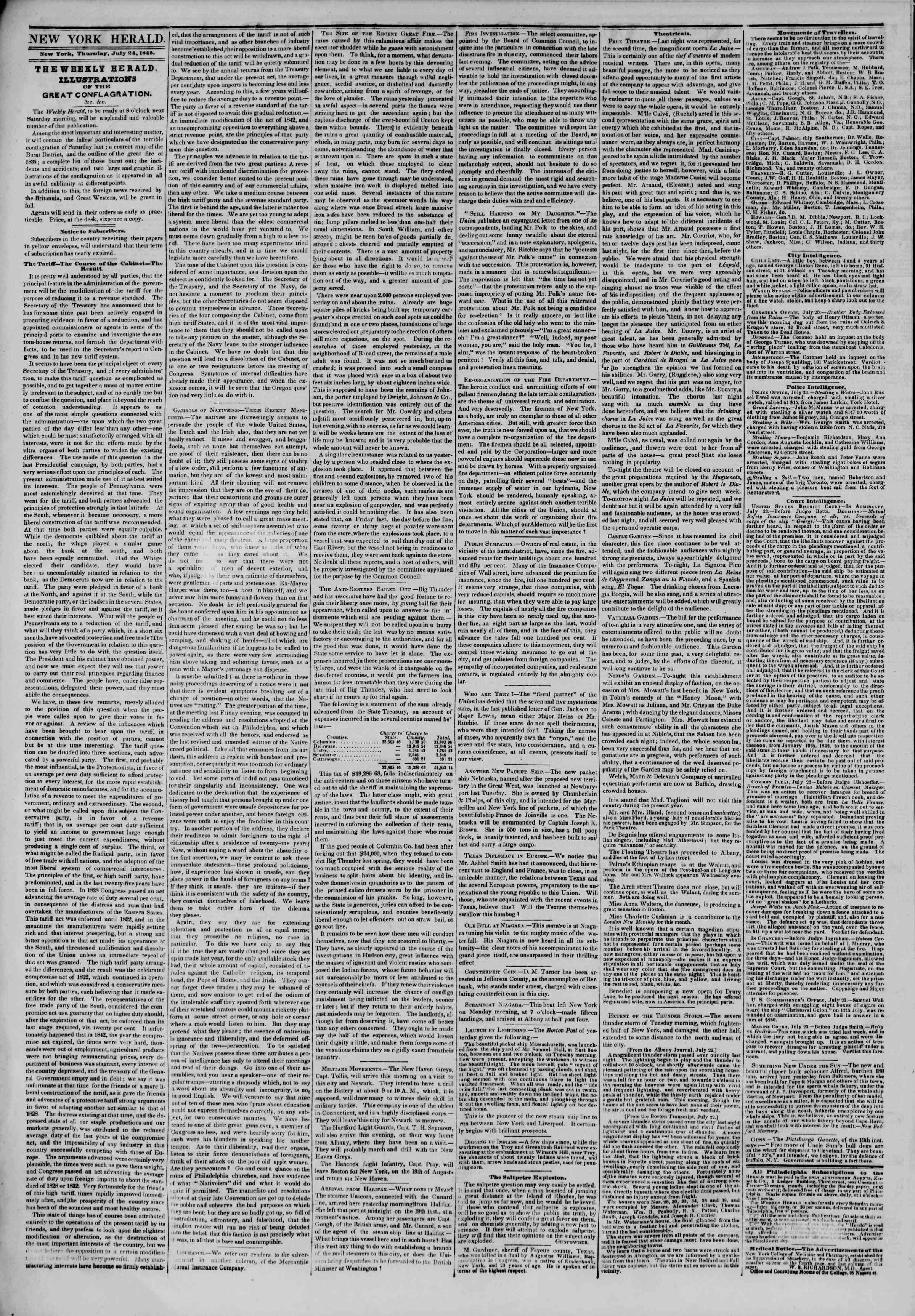 July 24, 1845 Tarihli The New York Herald Gazetesi Sayfa 2