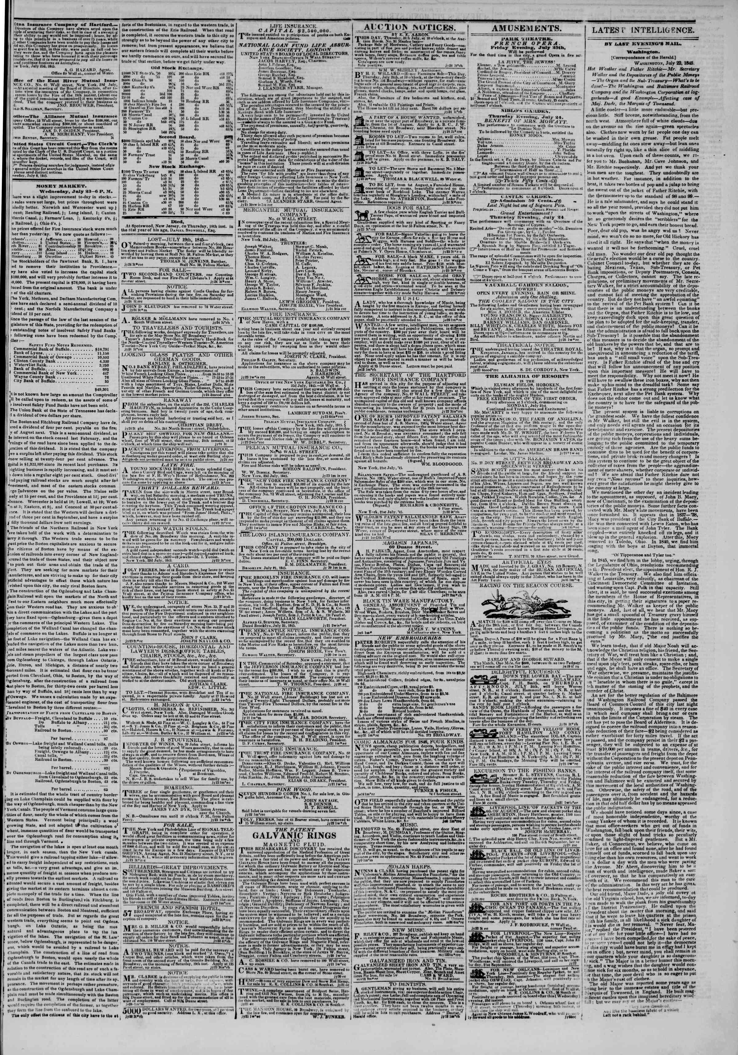 July 24, 1845 Tarihli The New York Herald Gazetesi Sayfa 3