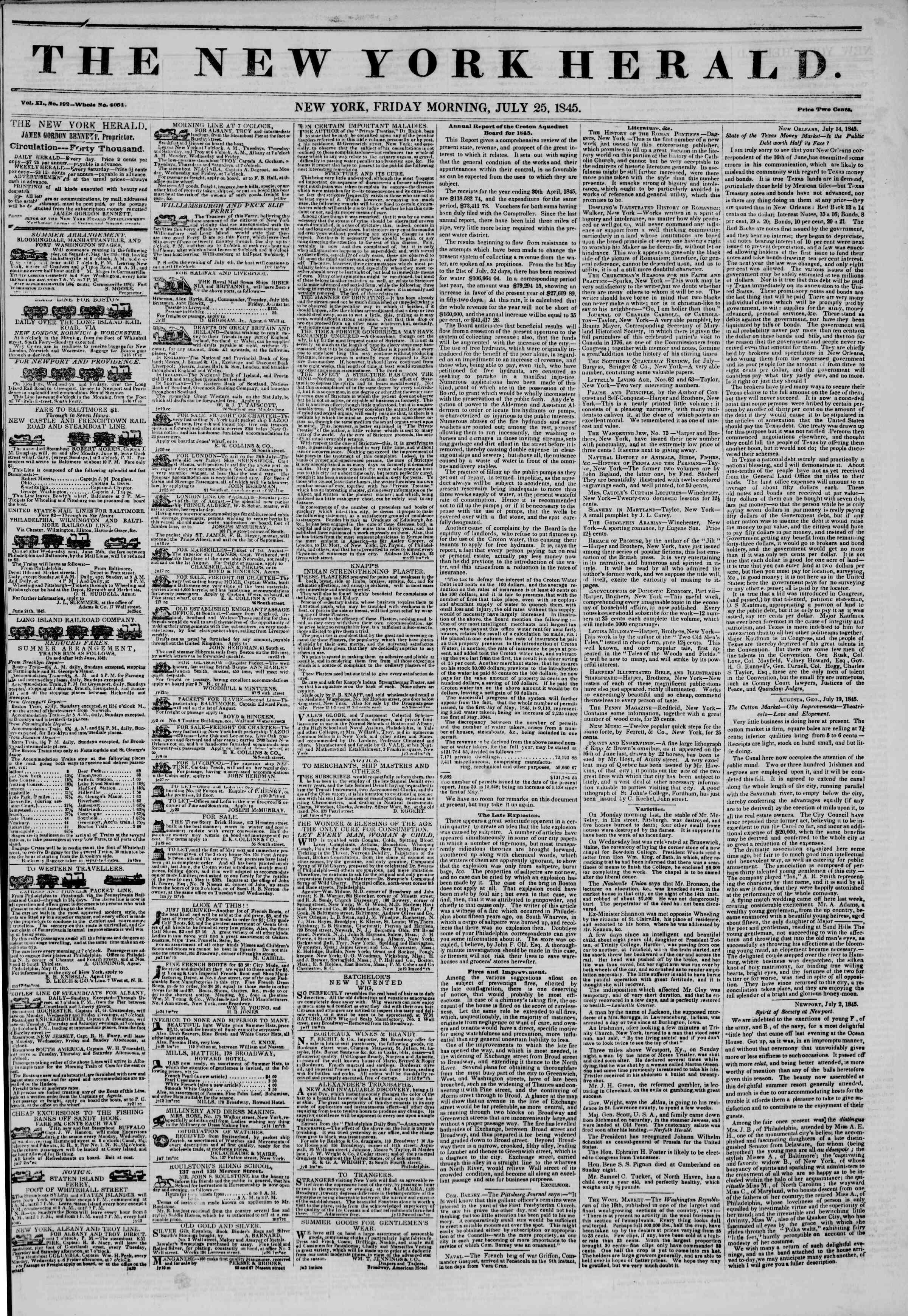 July 25, 1845 Tarihli The New York Herald Gazetesi Sayfa 1