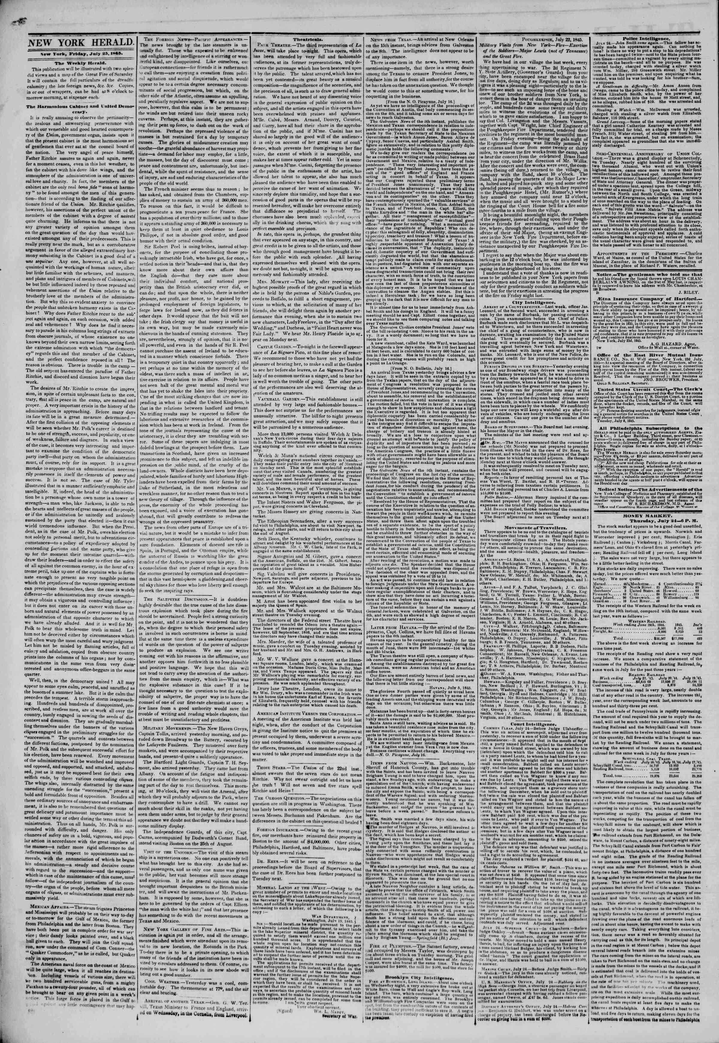 Newspaper of The New York Herald dated July 25, 1845 Page 2