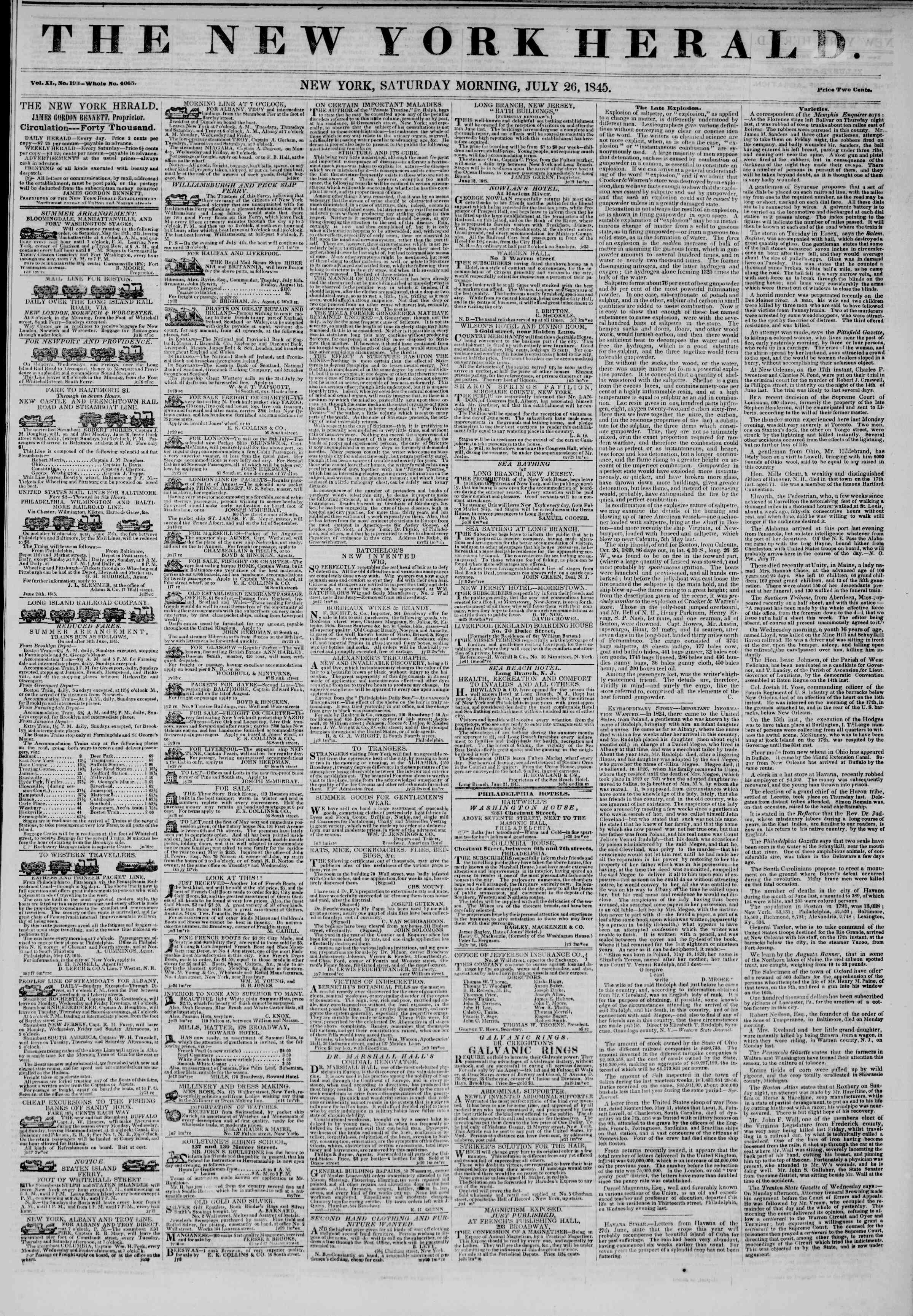Newspaper of The New York Herald dated July 26, 1845 Page 1
