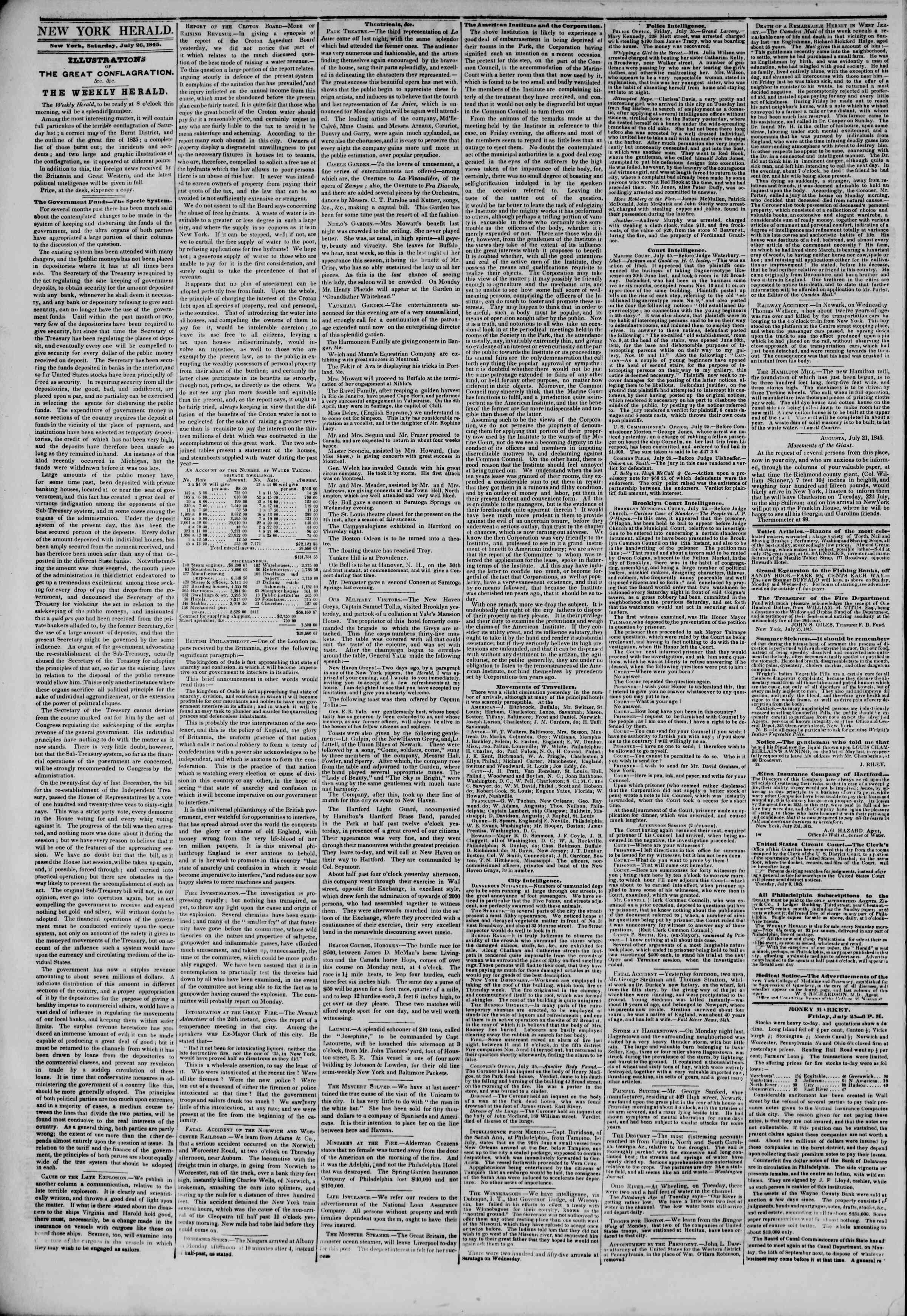 July 26, 1845 Tarihli The New York Herald Gazetesi Sayfa 2
