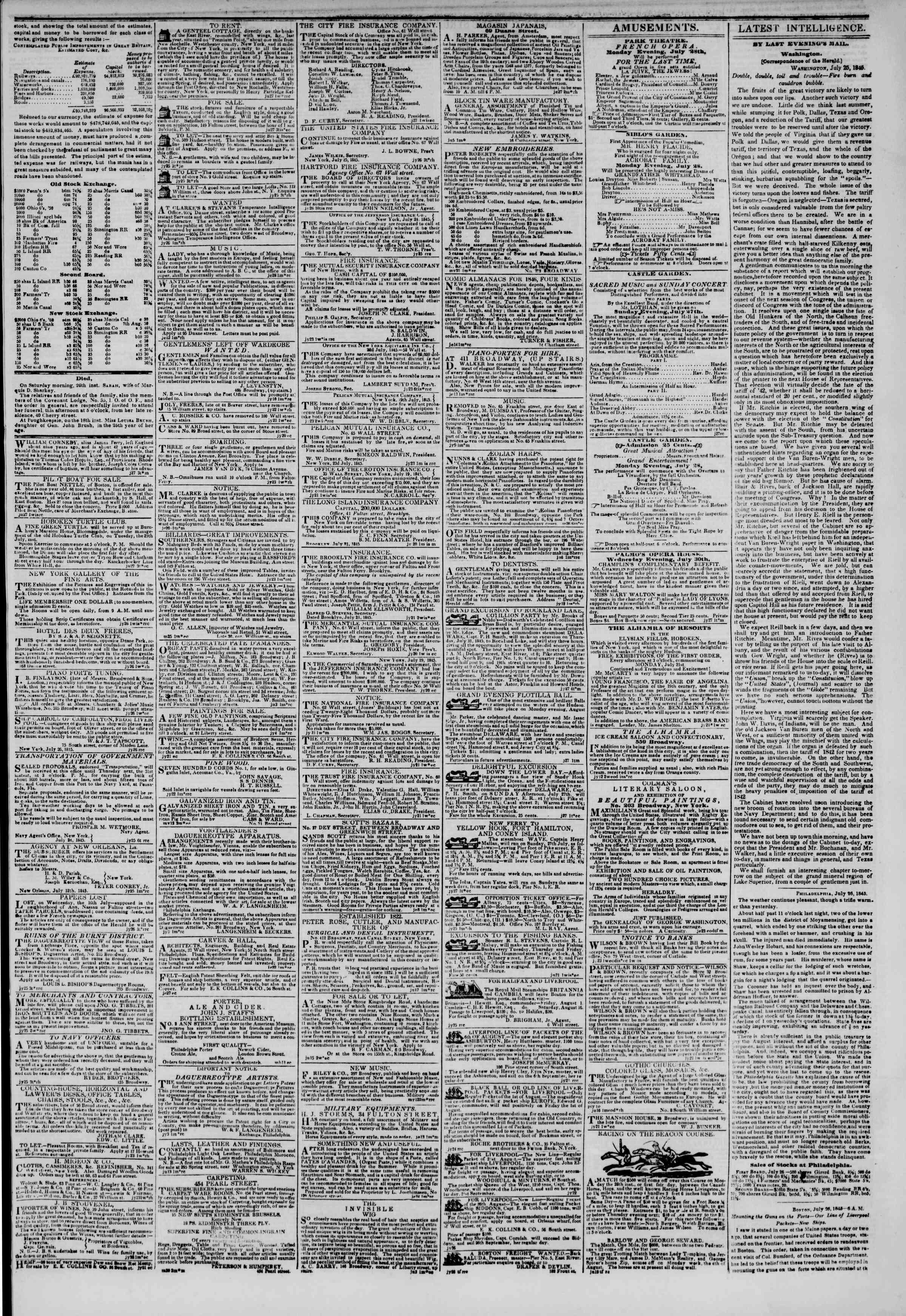 July 27, 1845 Tarihli The New York Herald Gazetesi Sayfa 3