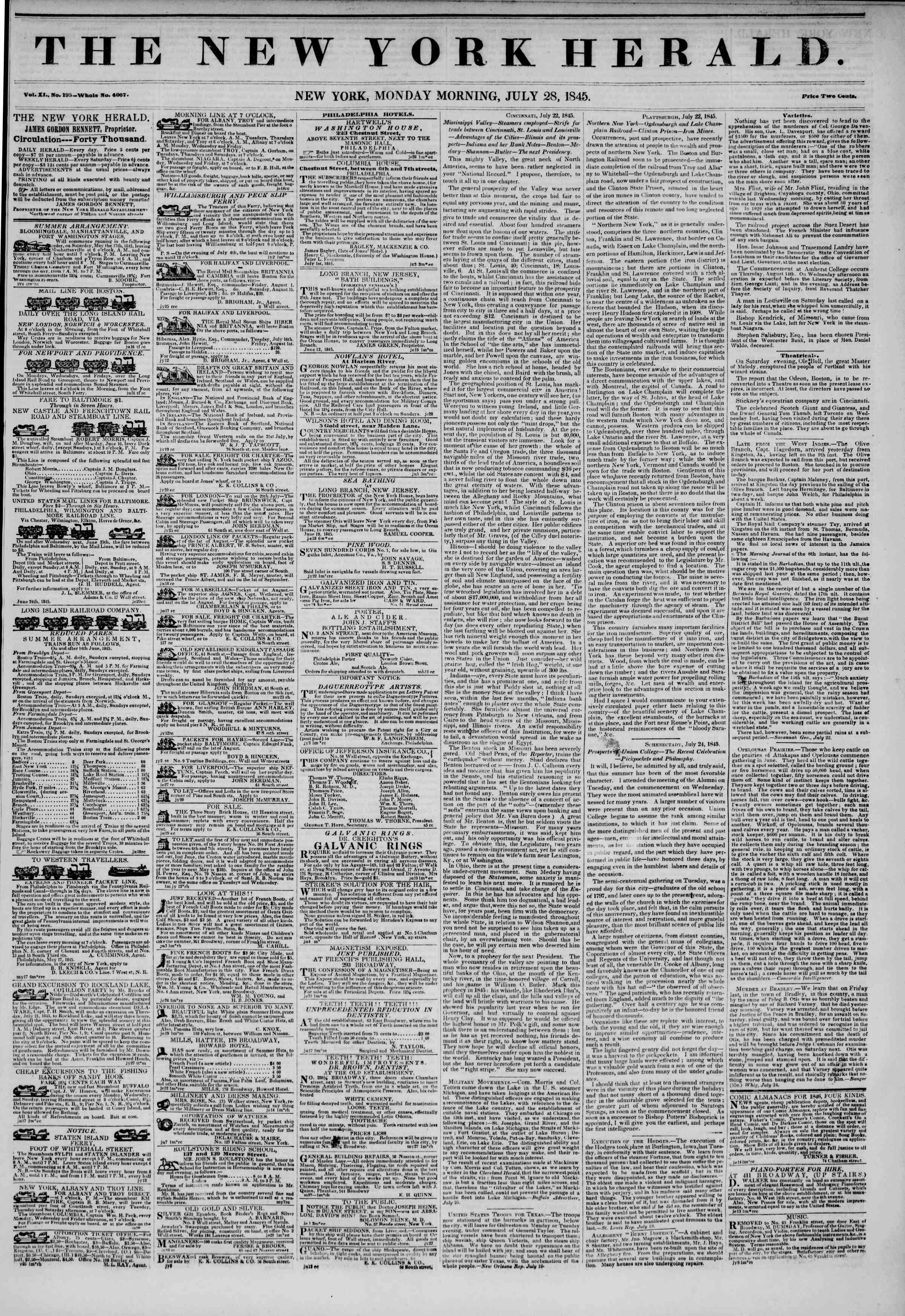 28 Temmuz 1845 tarihli The New York Herald Gazetesi Sayfa 1