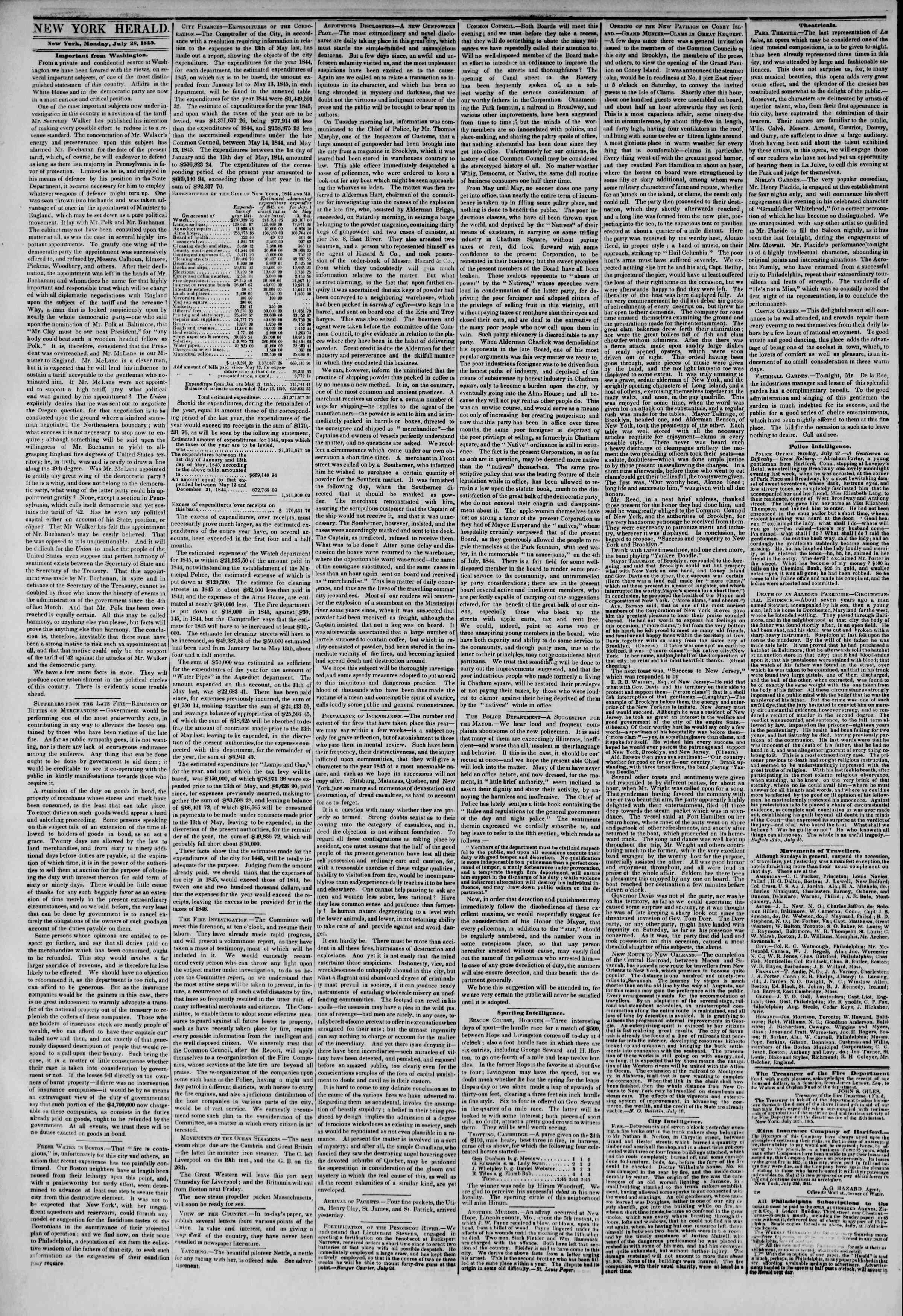28 Temmuz 1845 Tarihli The New York Herald Gazetesi Sayfa 2