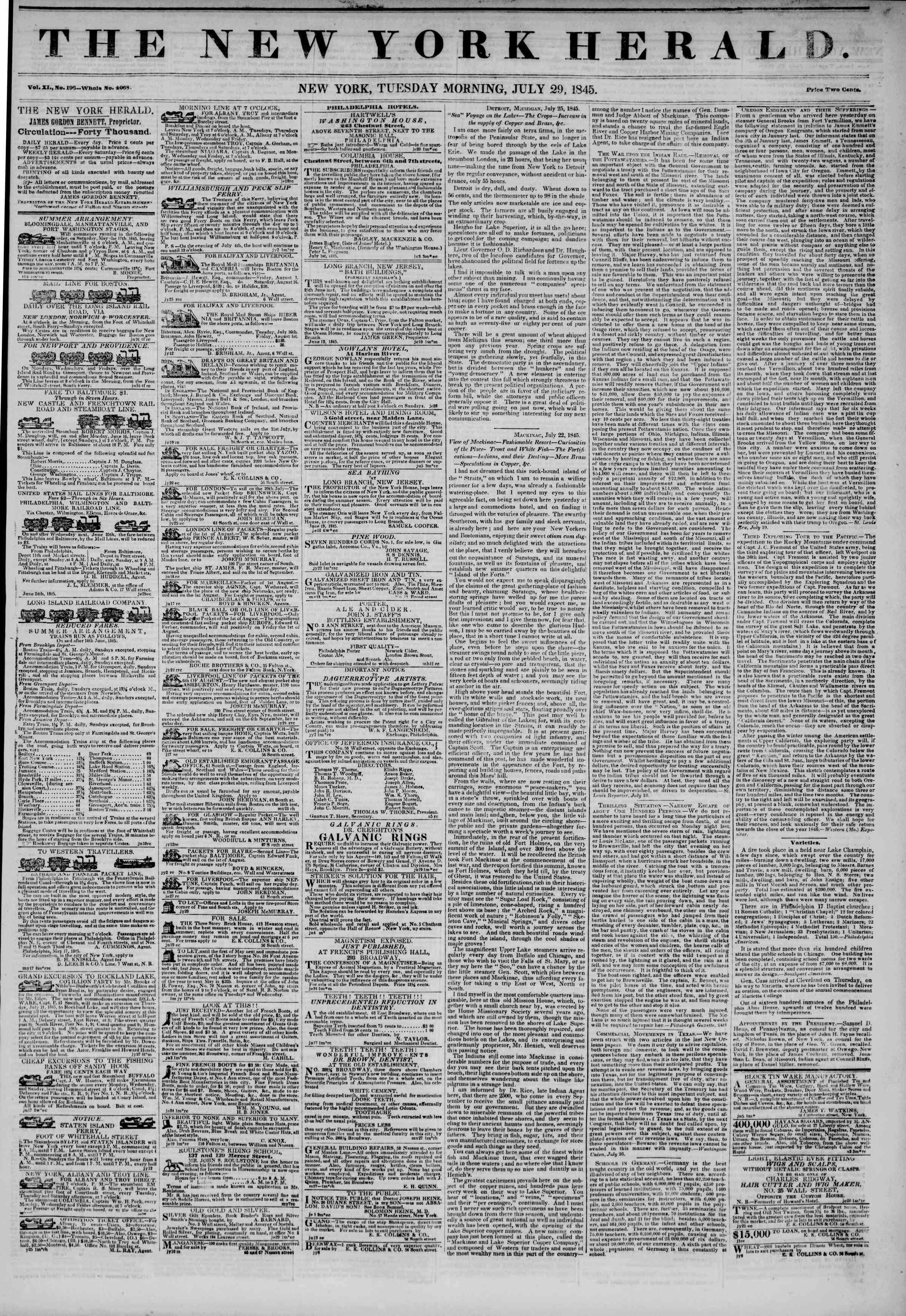 July 29, 1845 Tarihli The New York Herald Gazetesi Sayfa 1