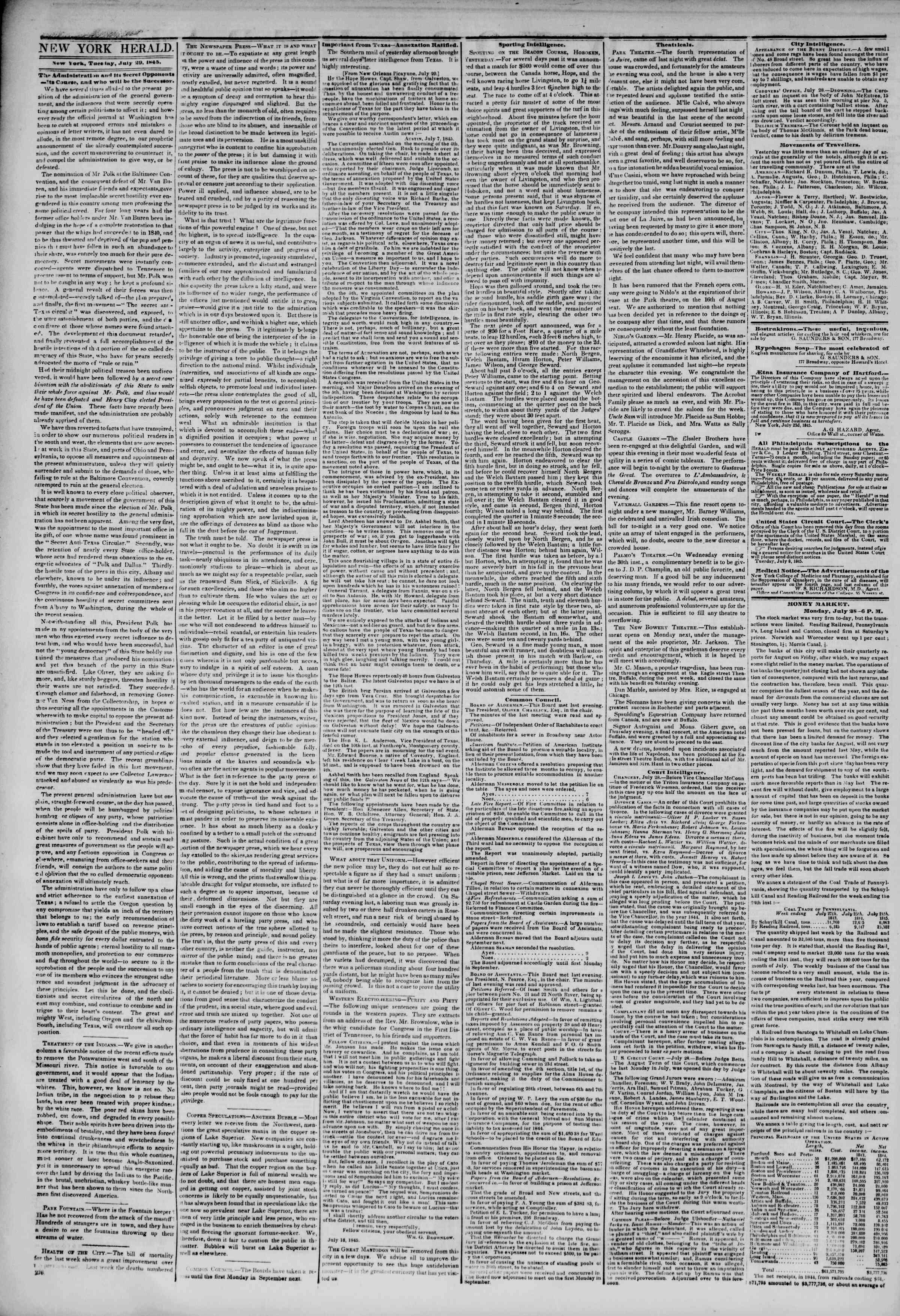 July 29, 1845 Tarihli The New York Herald Gazetesi Sayfa 2