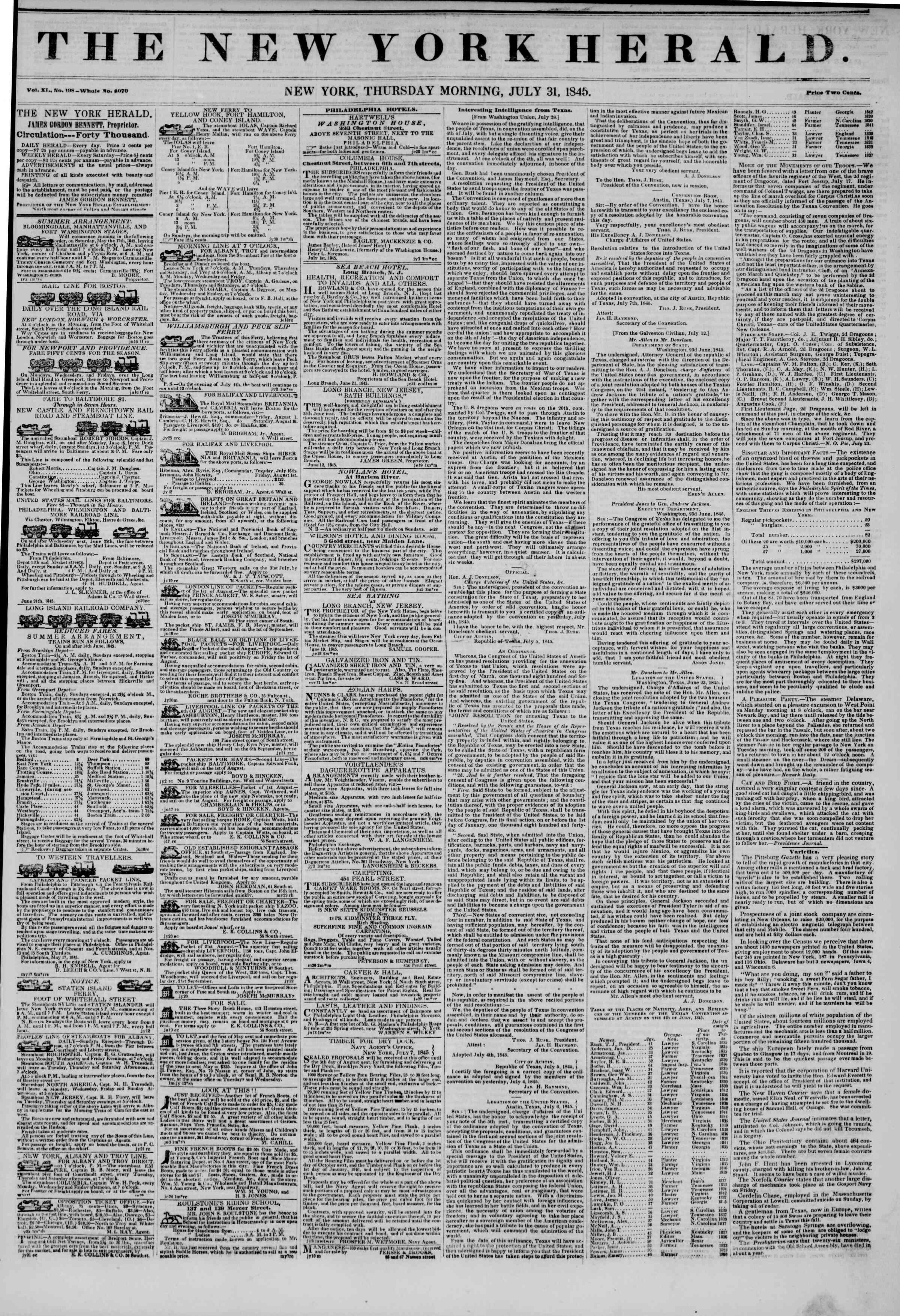 Newspaper of The New York Herald dated July 31, 1845 Page 1