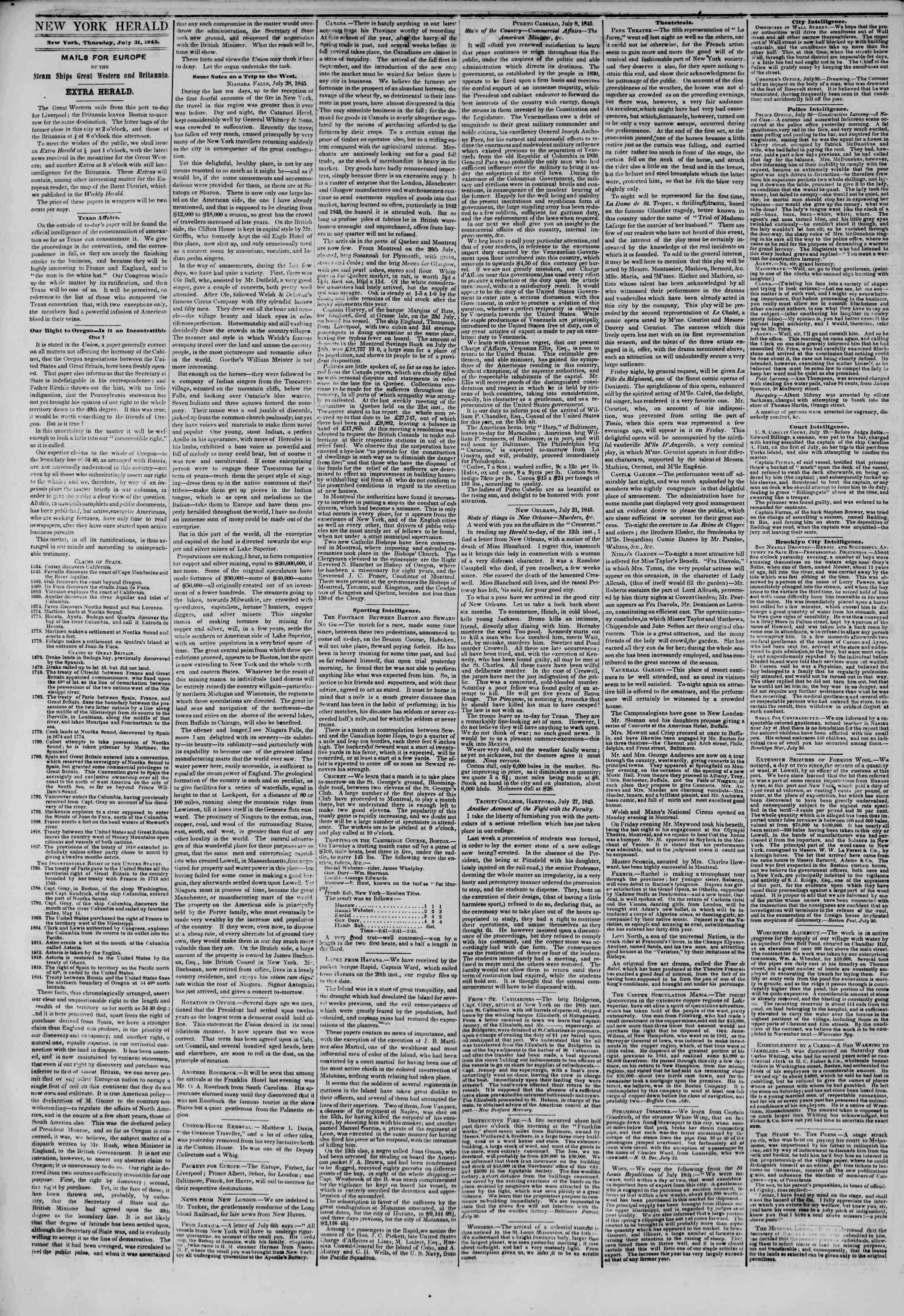 July 31, 1845 Tarihli The New York Herald Gazetesi Sayfa 2
