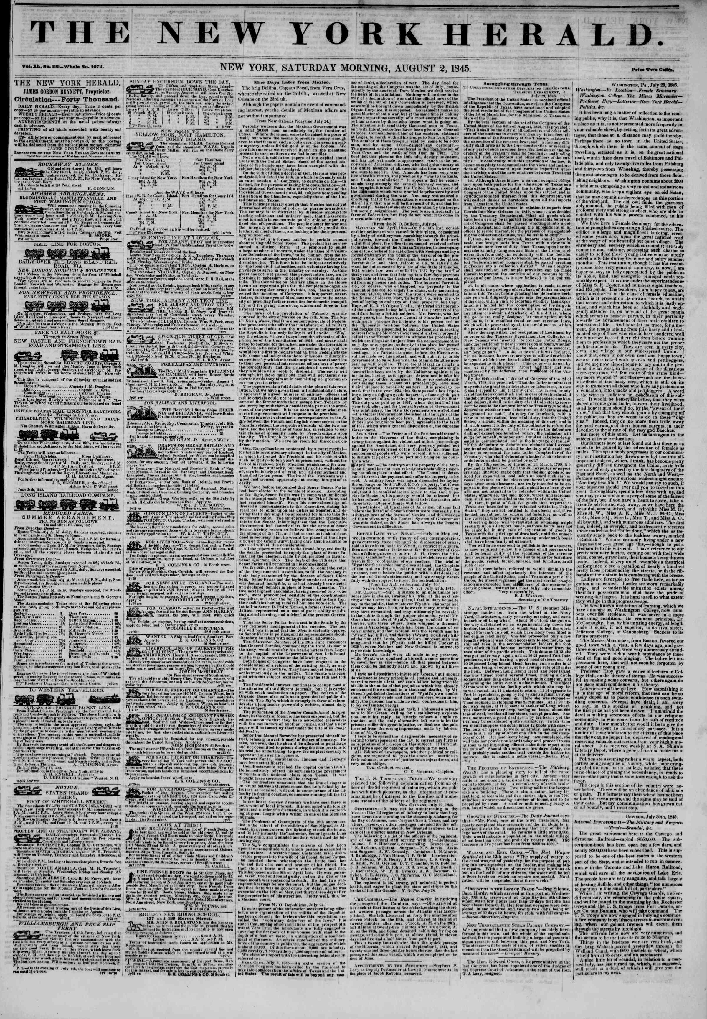 August 2, 1845 Tarihli The New York Herald Gazetesi Sayfa 1